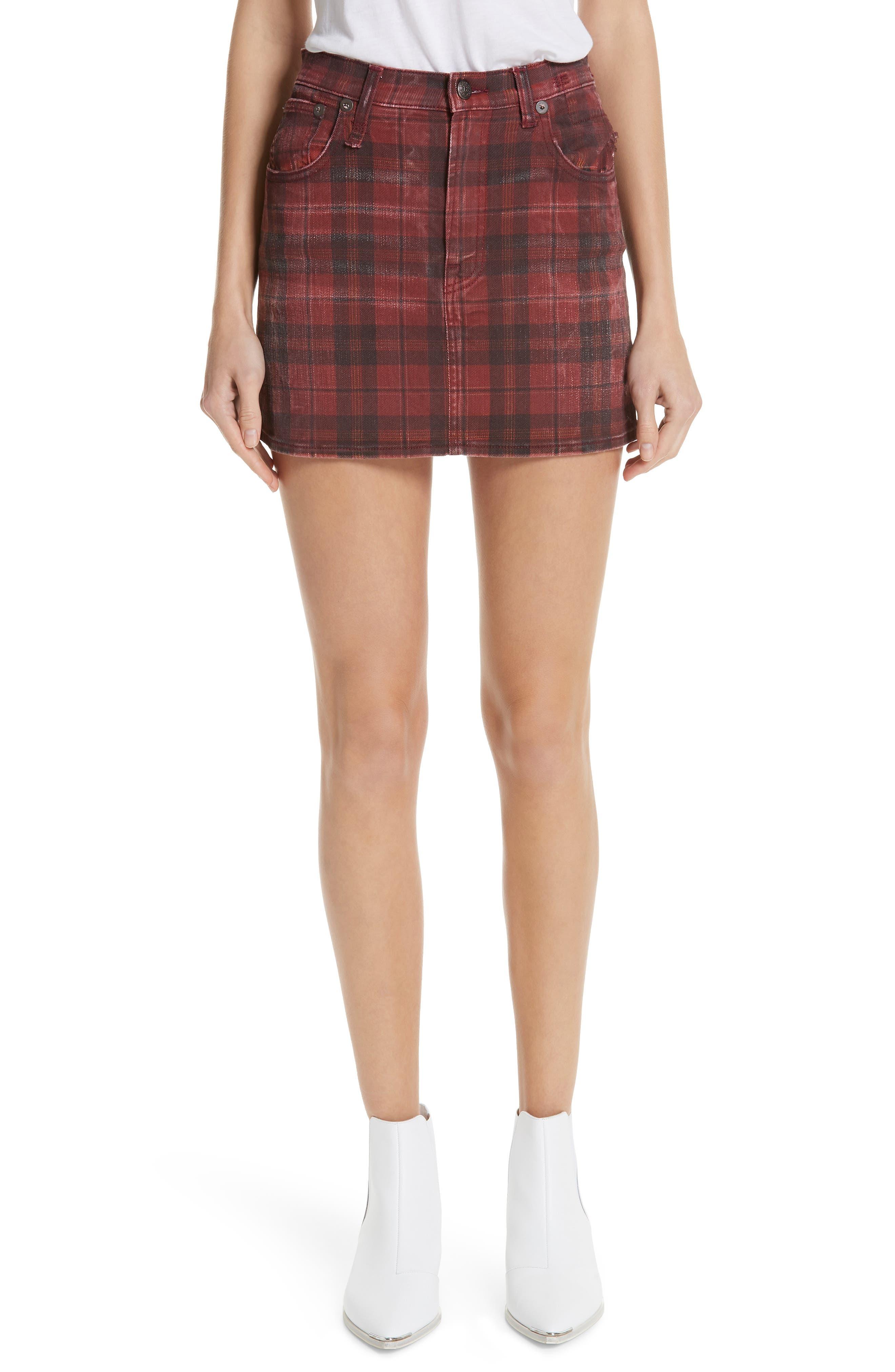 R13 Plaid Denim Miniskirt, Main, color, 600