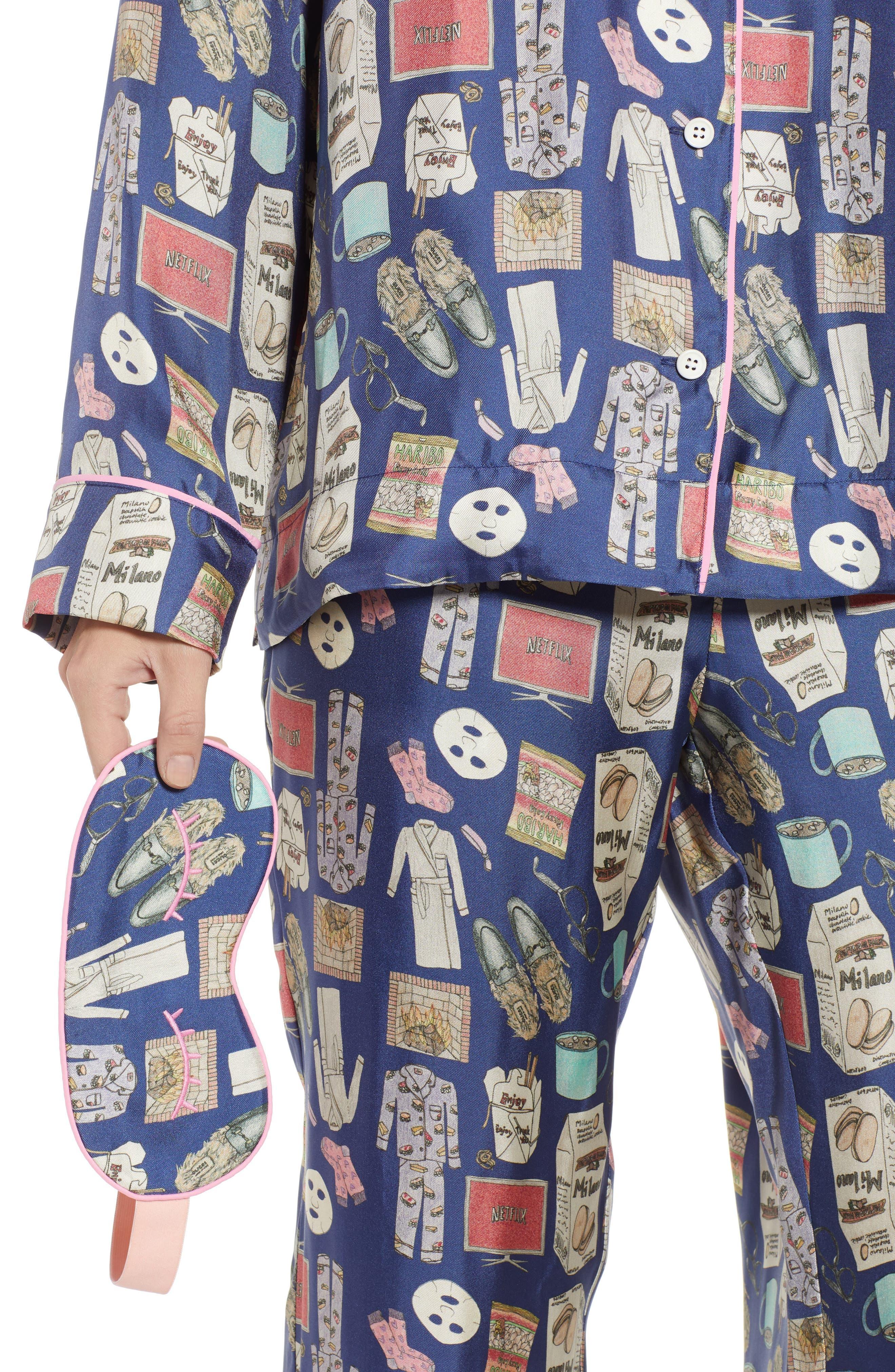 Netflix & Chill Silk Blend Pajamas & Eye Mask,                             Alternate thumbnail 4, color,                             BLUE