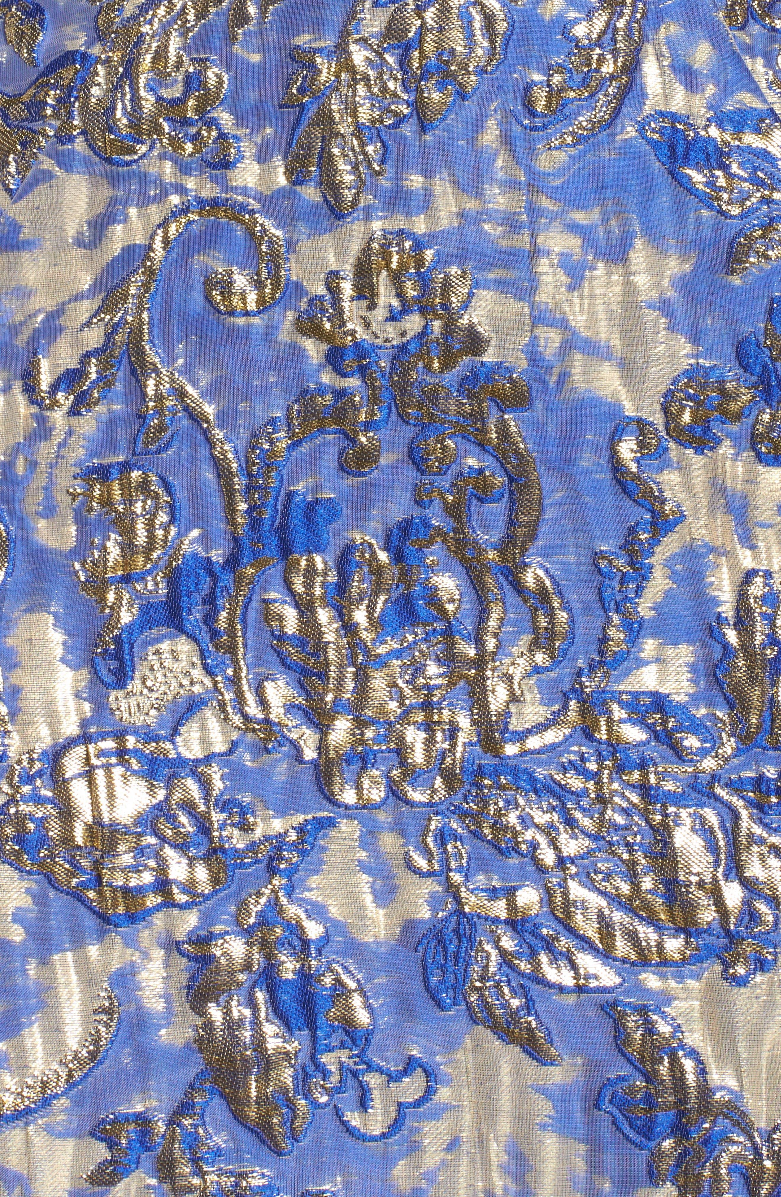 Metallic Jacquard Mermaid Gown,                             Alternate thumbnail 5, color,                             BLUE/GOLD