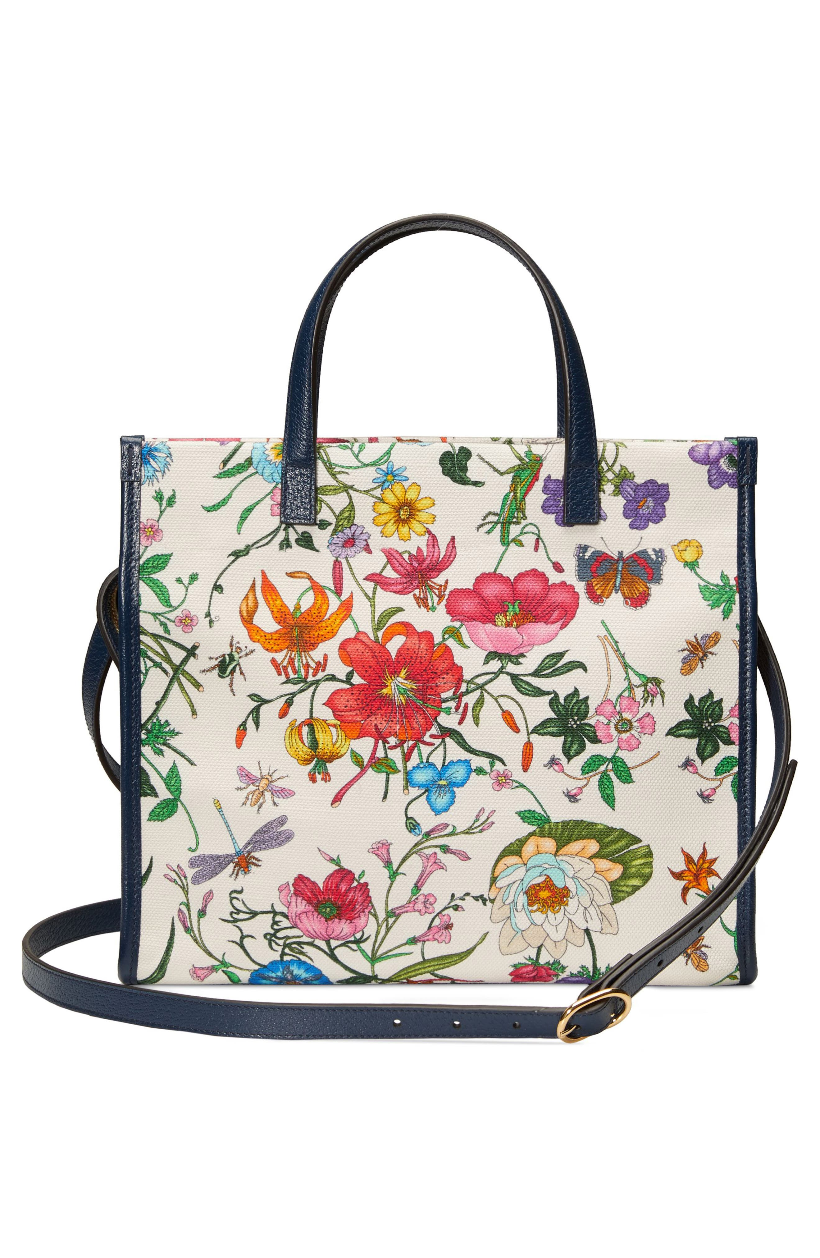 Small Flora Canvas Tote,                             Alternate thumbnail 2, color,                             WHITE MULTI
