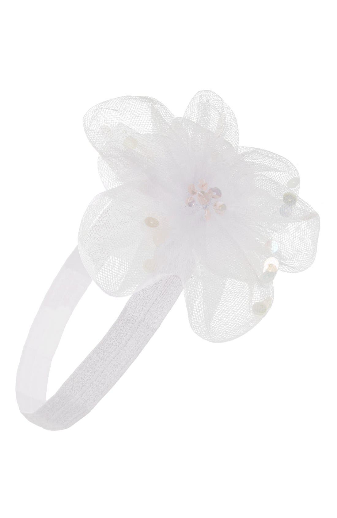 Tulle Flower Head Wrap,                         Main,                         color, 100