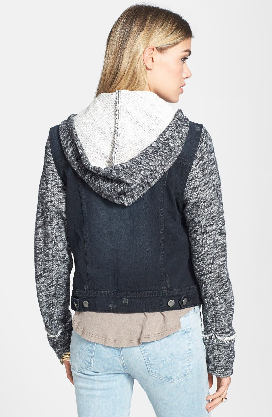 Denim & Knit Jacket,                             Alternate thumbnail 2, color,                             001