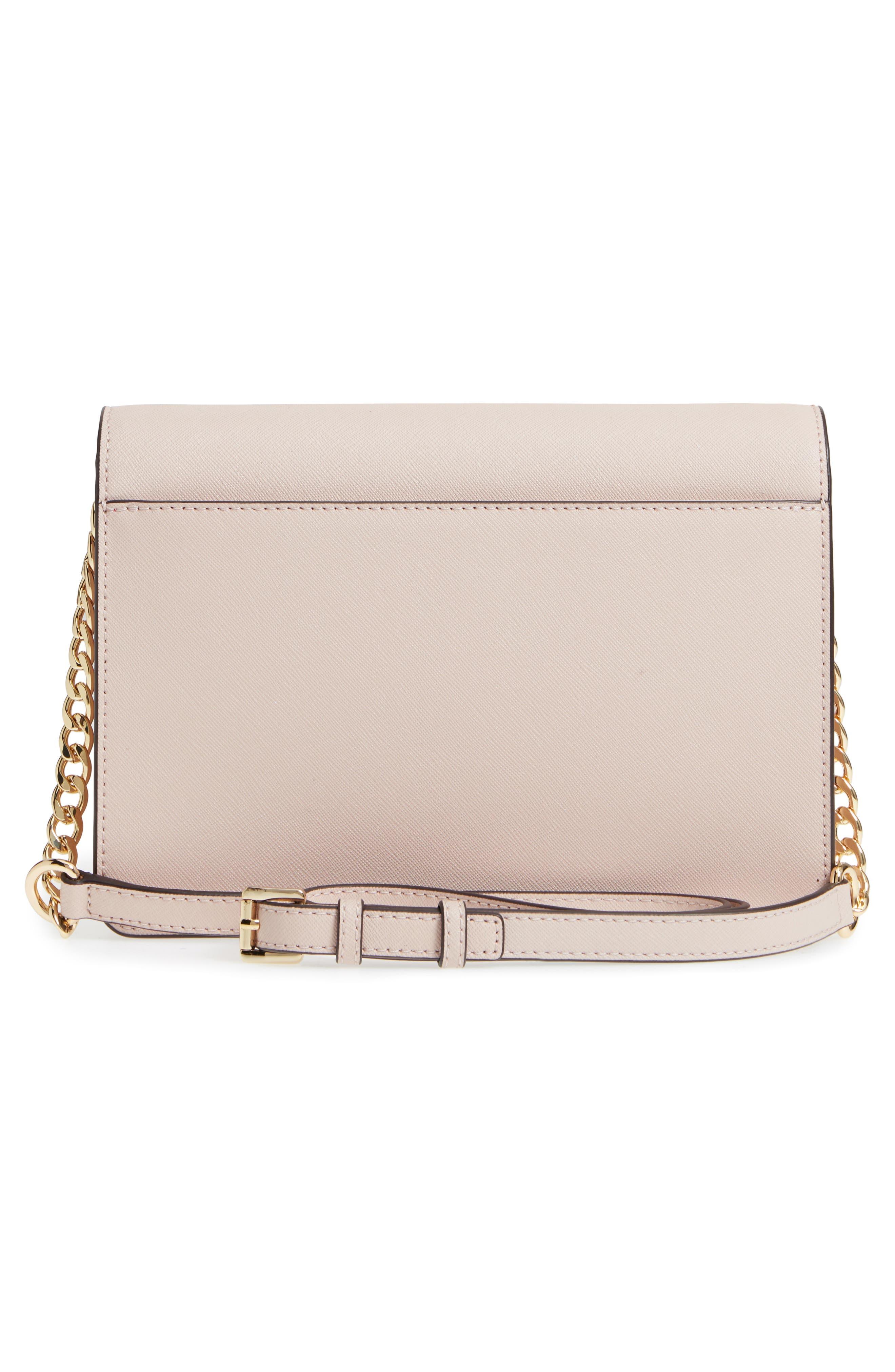Large Daniela Leather Crossbody Bag,                             Alternate thumbnail 3, color,                             SOFT PINK