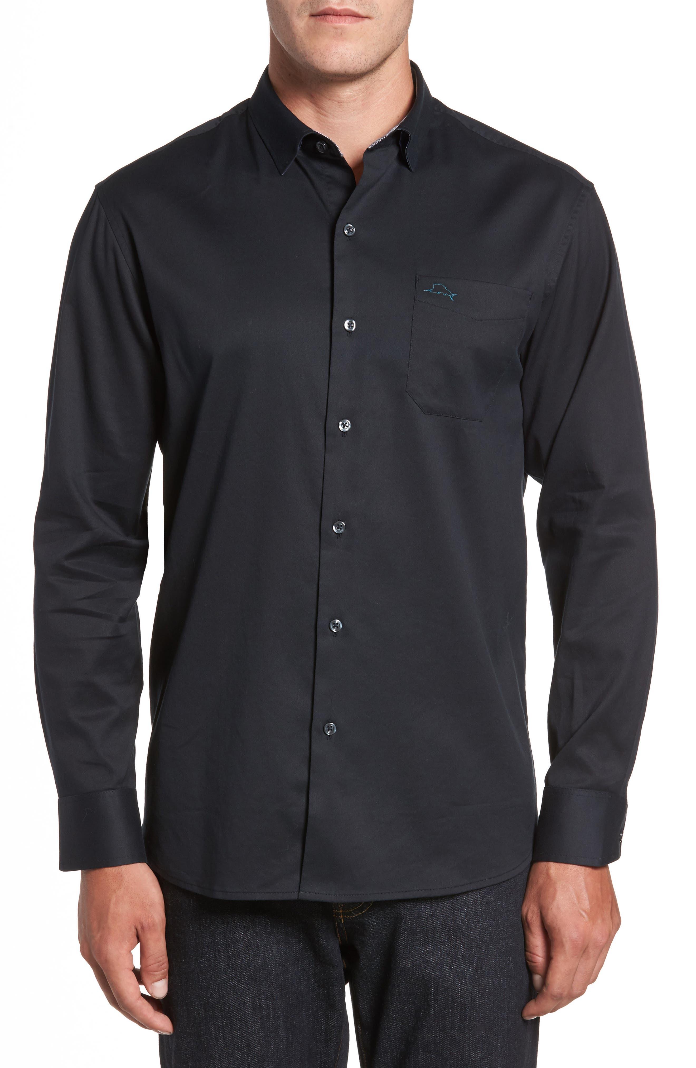 TOMMY BAHAMA,                             Oasis Twill Sport Shirt,                             Main thumbnail 1, color,                             001