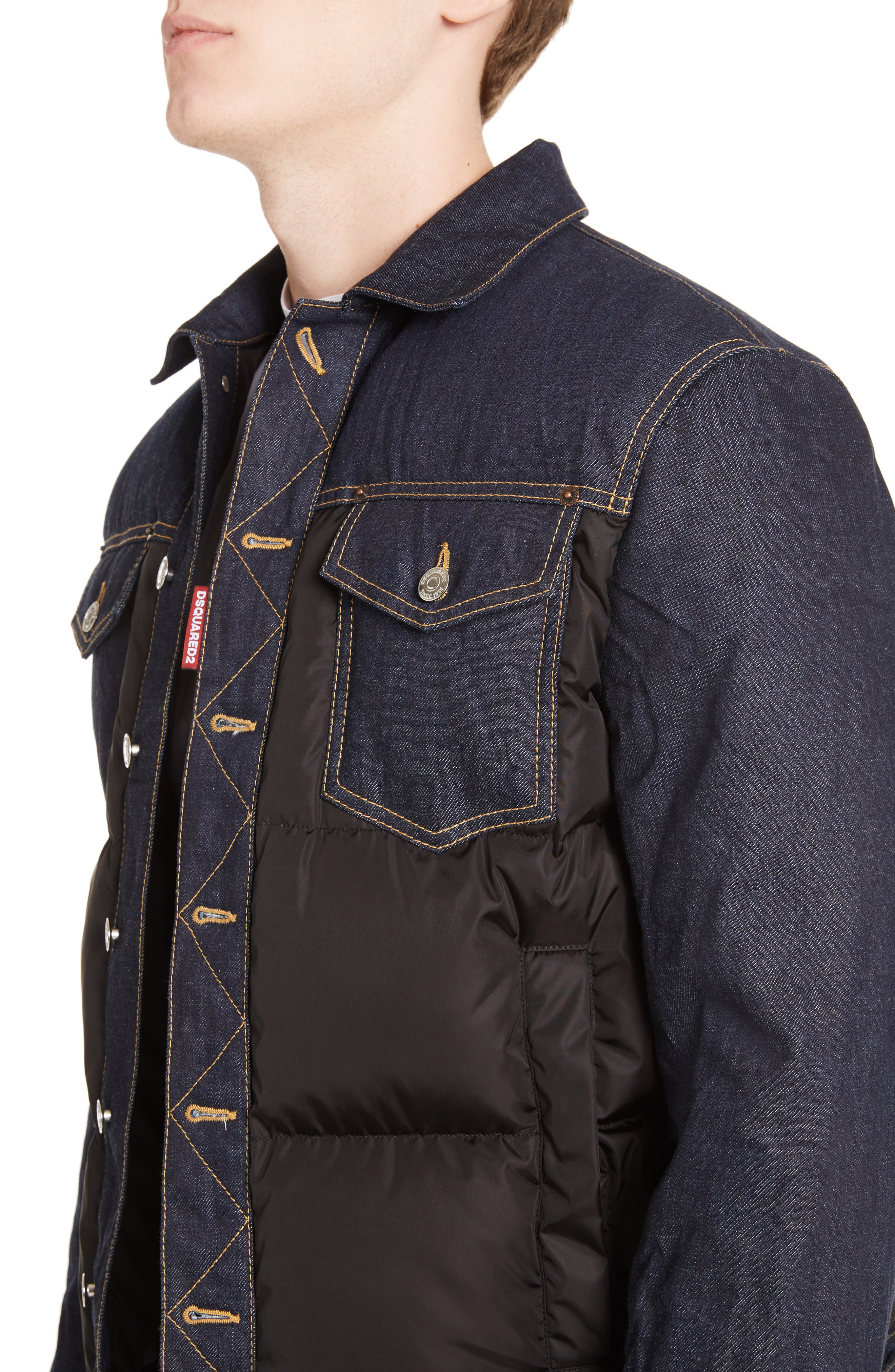 Mixed Media Quilted Denim Jacket,                             Alternate thumbnail 4, color,                             008
