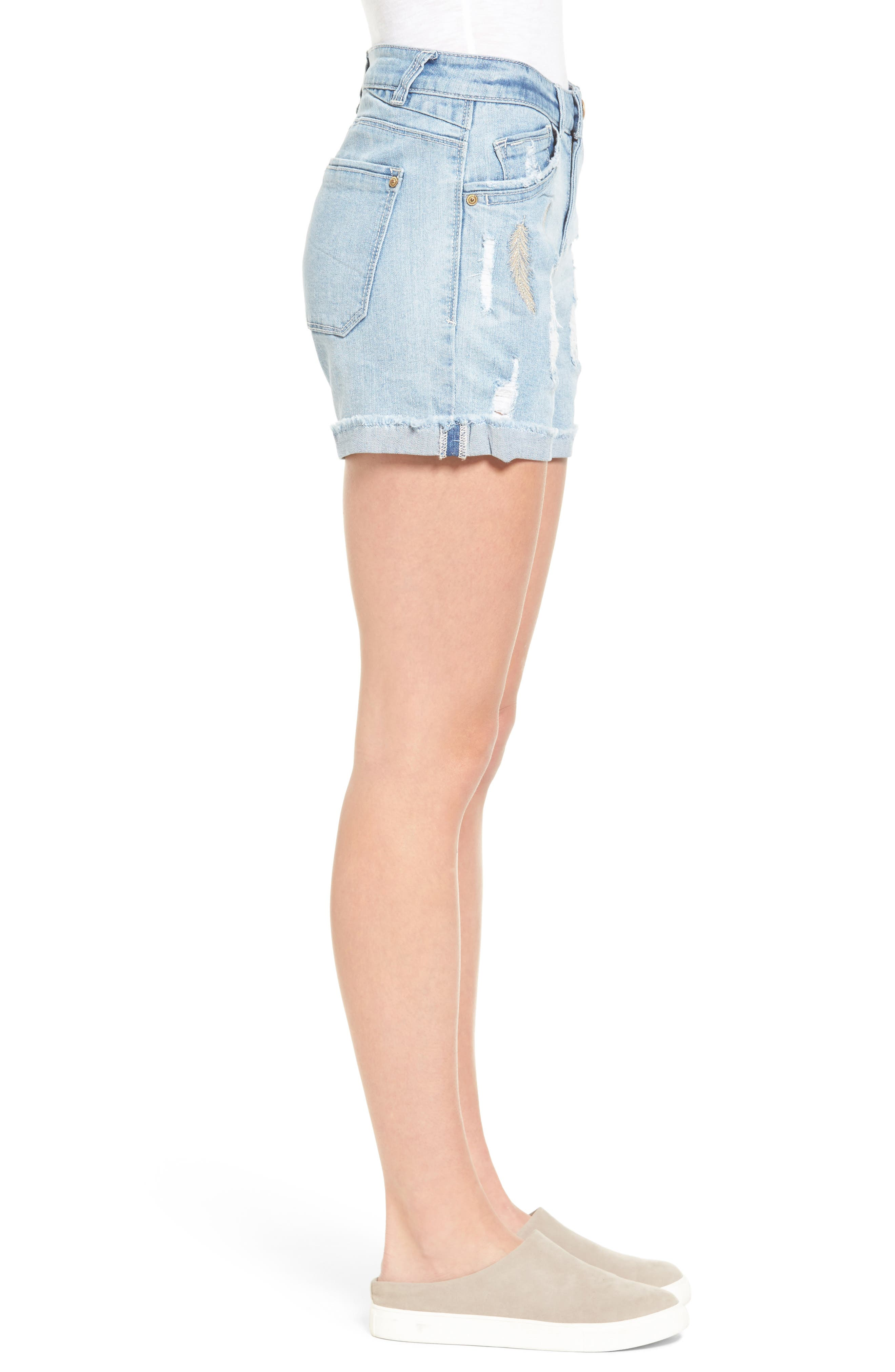 Embroidered Cutoff Shorts,                             Alternate thumbnail 3, color,                             454