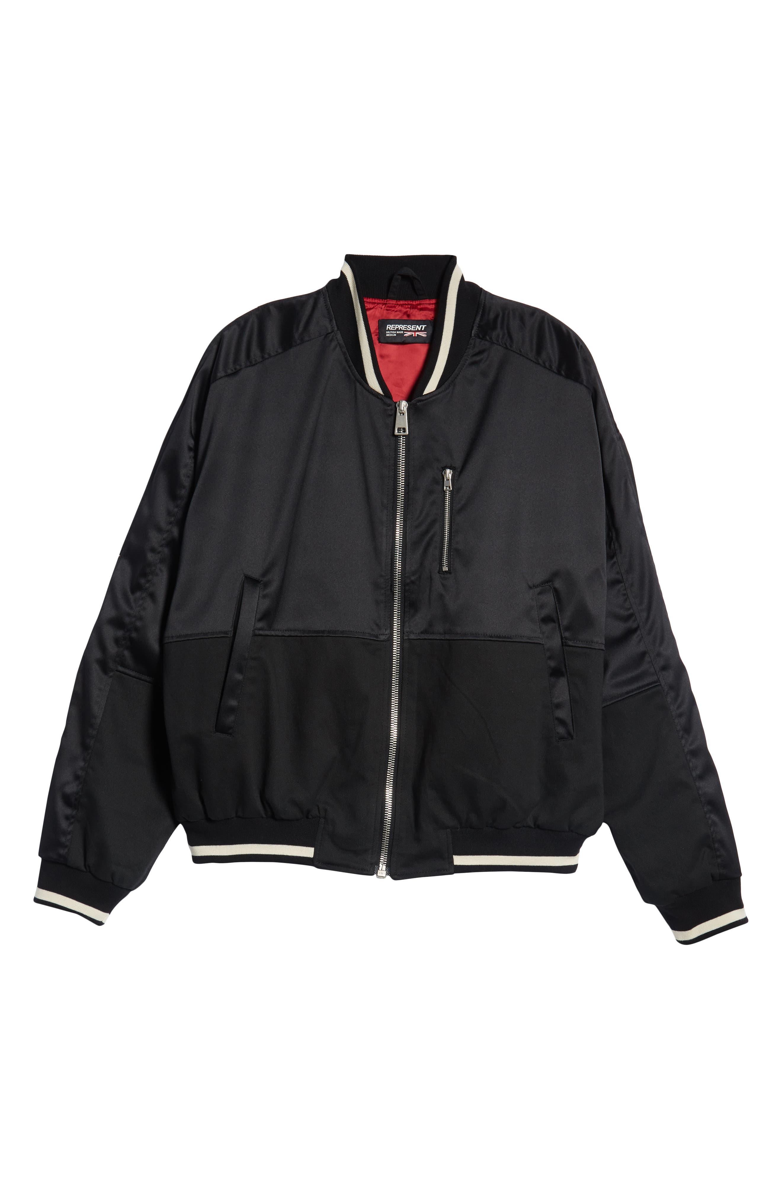 Military Bomber Jacket,                             Alternate thumbnail 6, color,                             BLACK