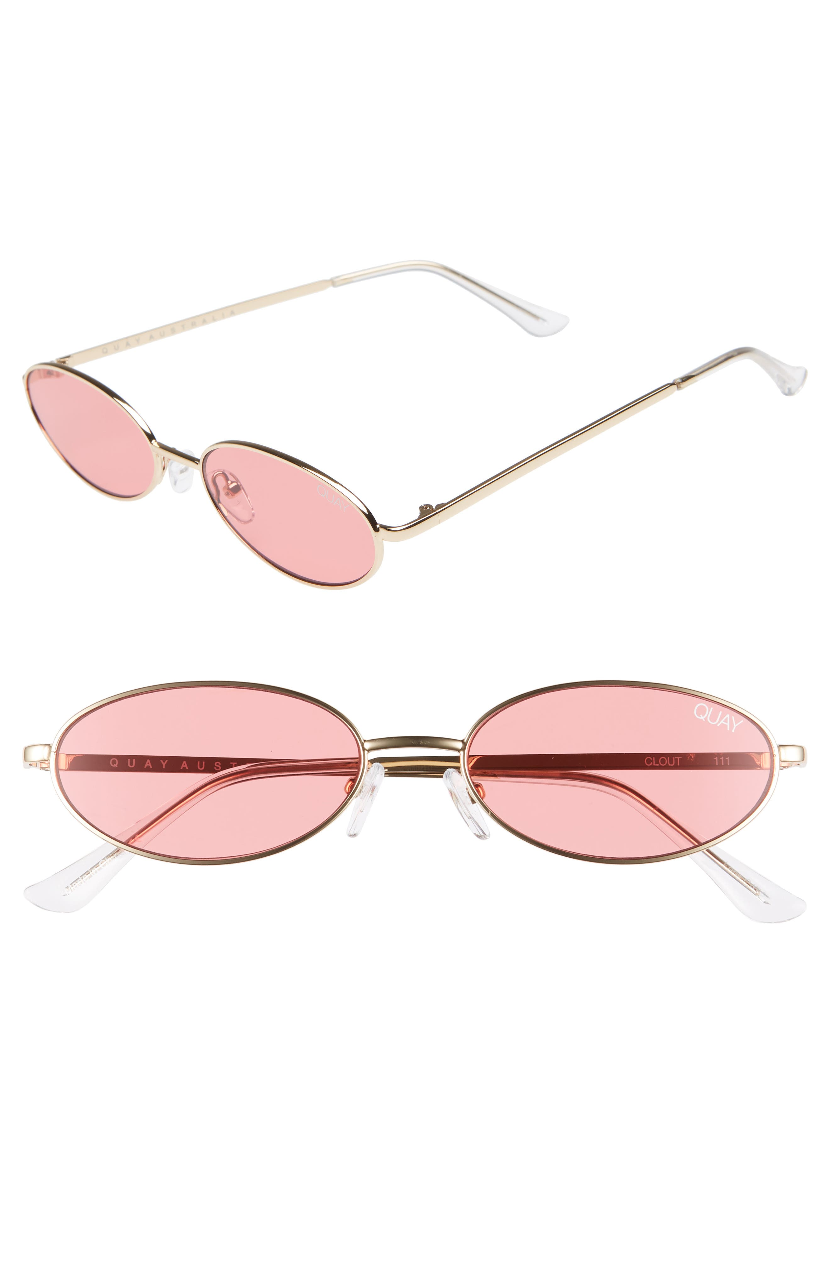 QUAY Clout 54Mm Round Sunglasses - Gold/ Red