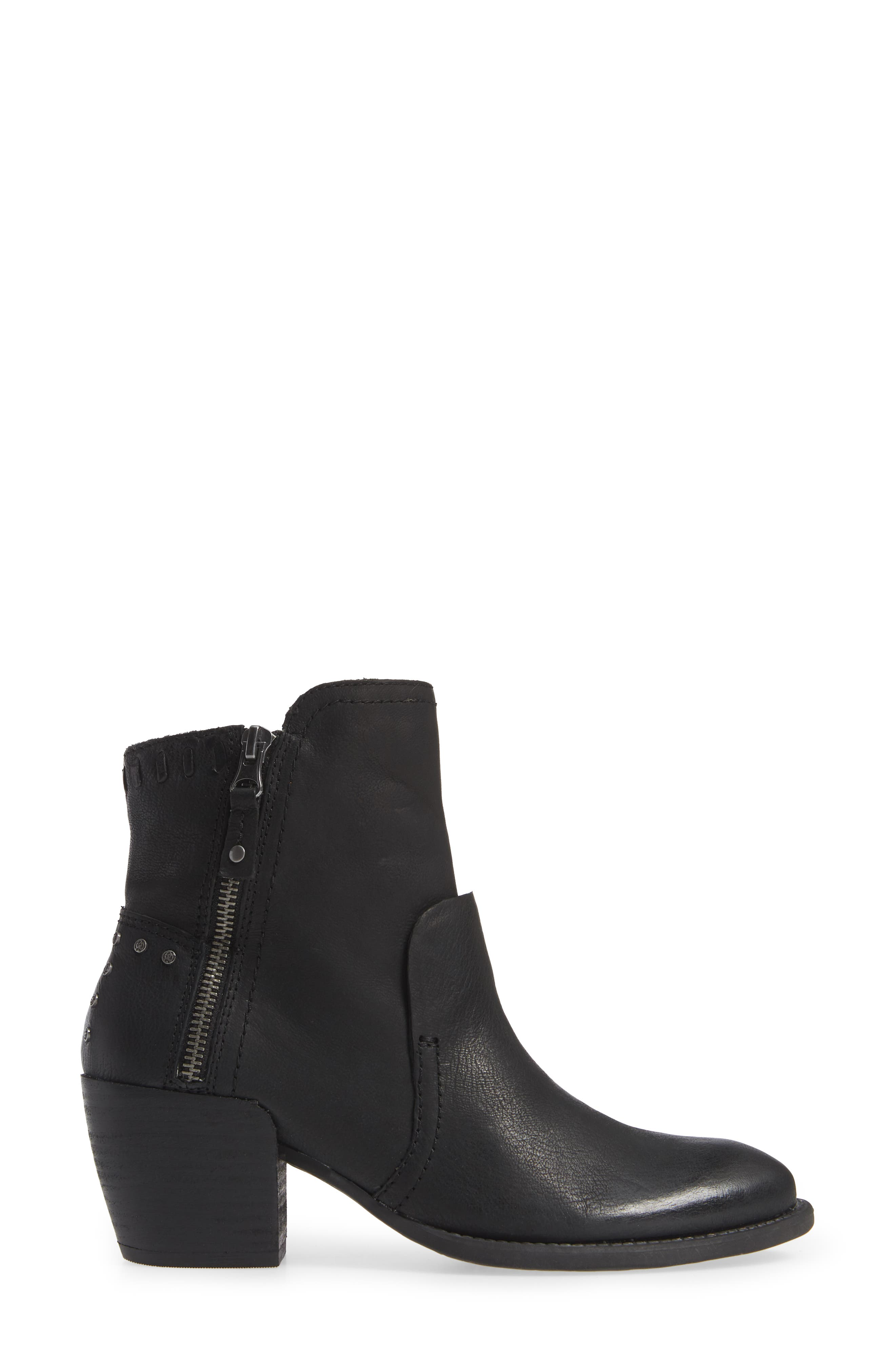 Red Eye Bootie,                             Alternate thumbnail 3, color,                             BLACK LEATHER