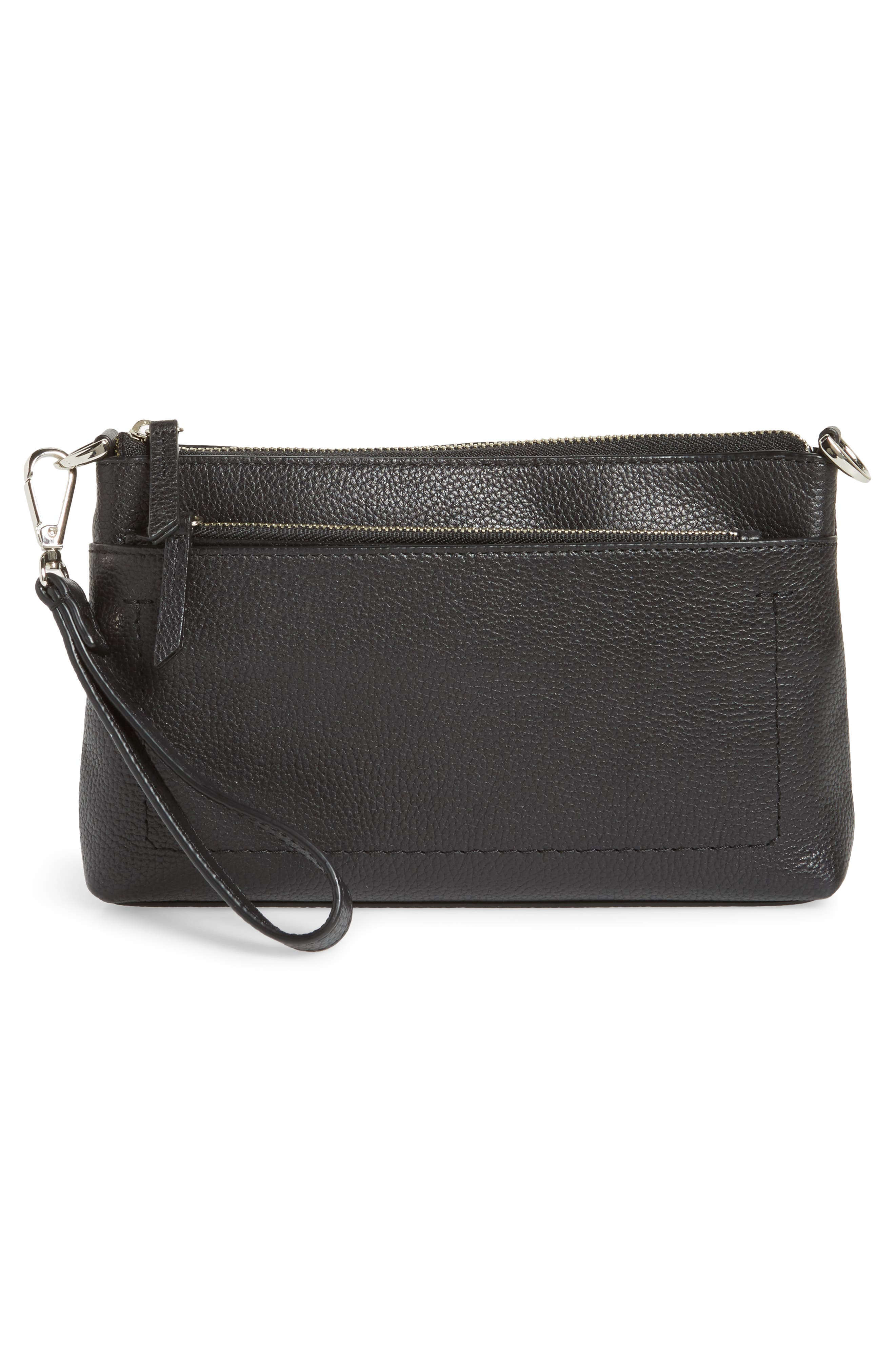 Brixton Convertible Leather Crossbody Bag with Pop-Out Card Holder,                             Alternate thumbnail 3, color,                             001