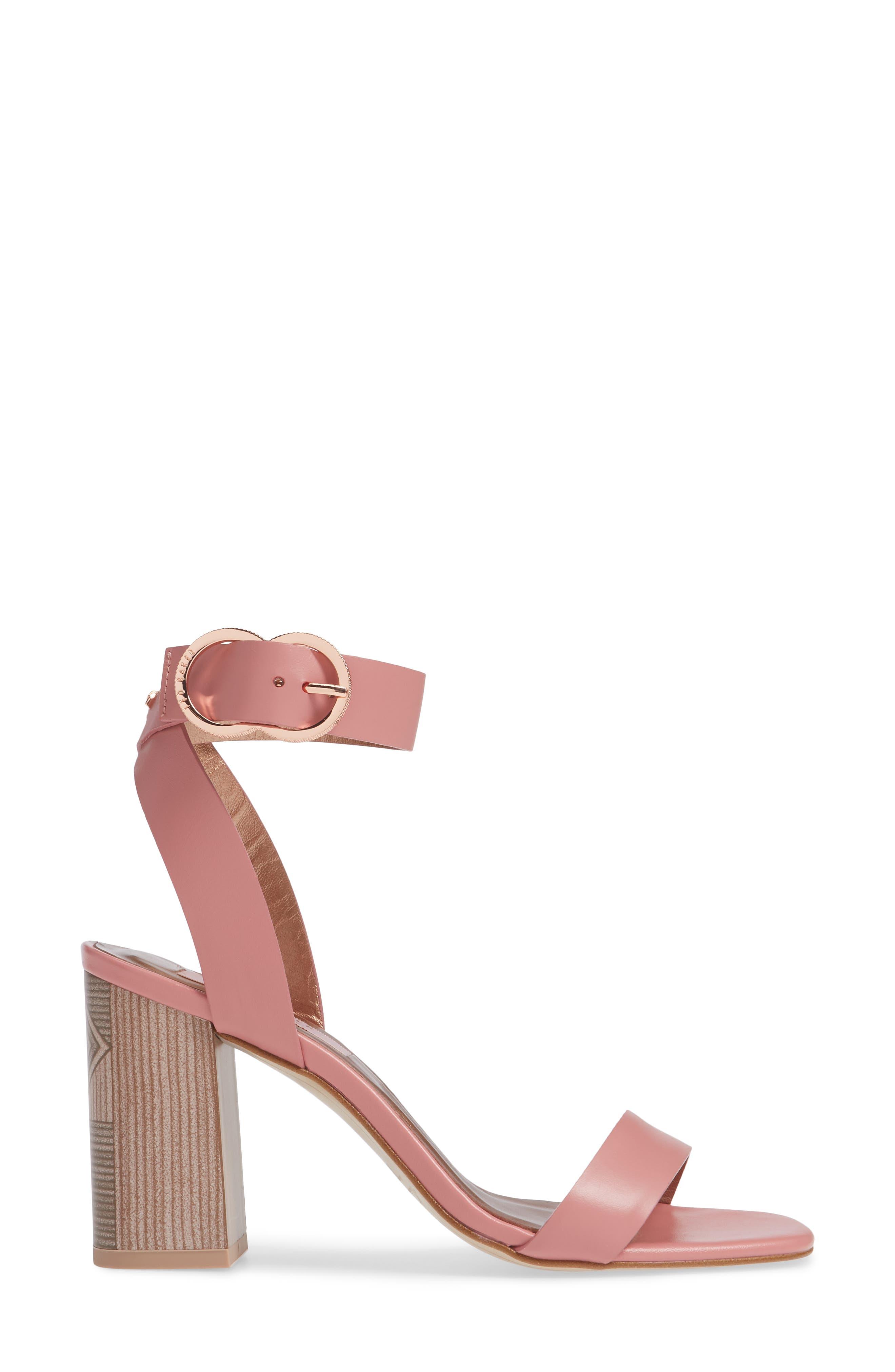 Vallama Block Heel Sandal,                             Alternate thumbnail 3, color,                             PINK LEATHER