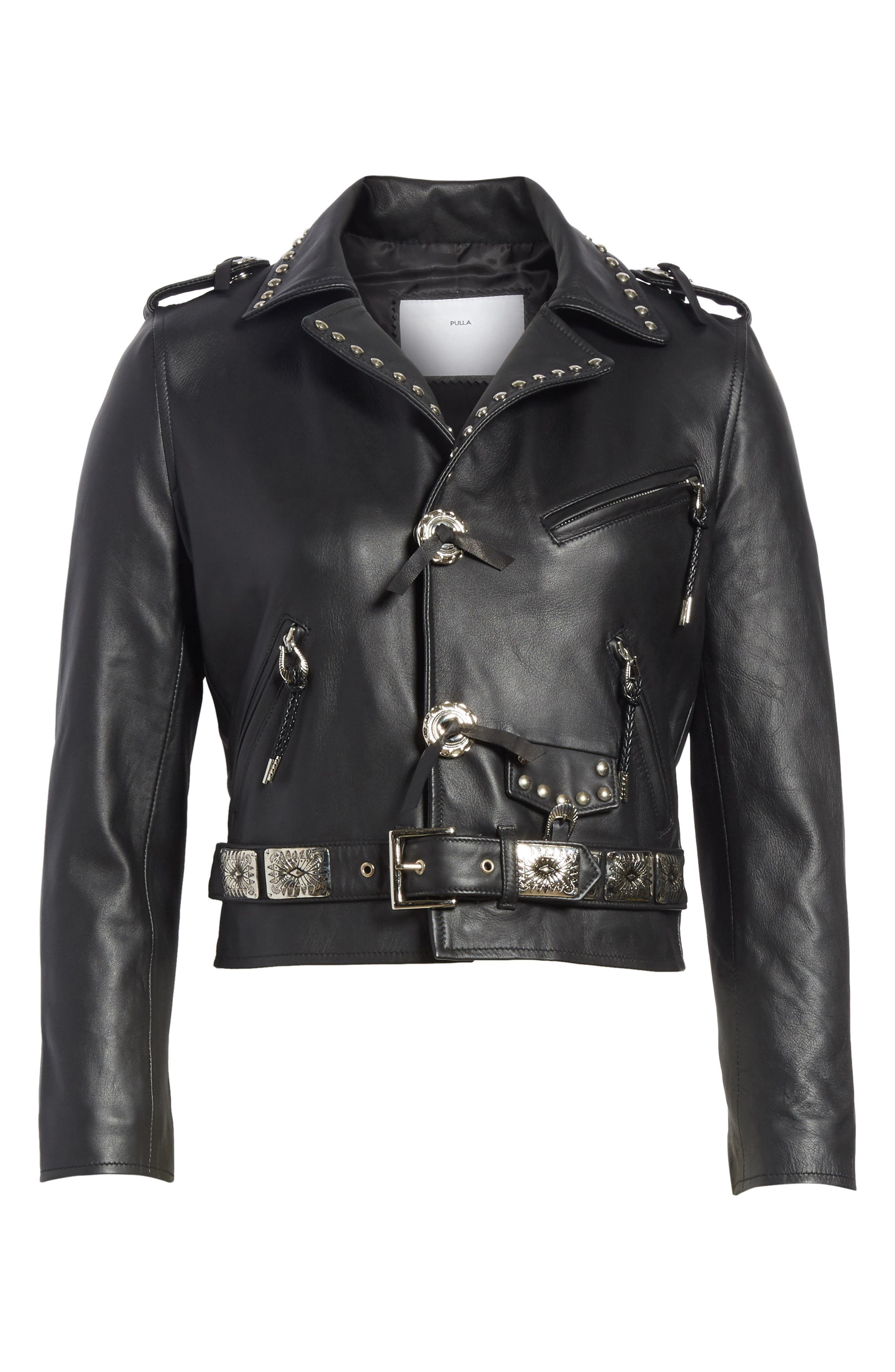 Studded Leather Moto Jacket,                             Alternate thumbnail 5, color,                             001