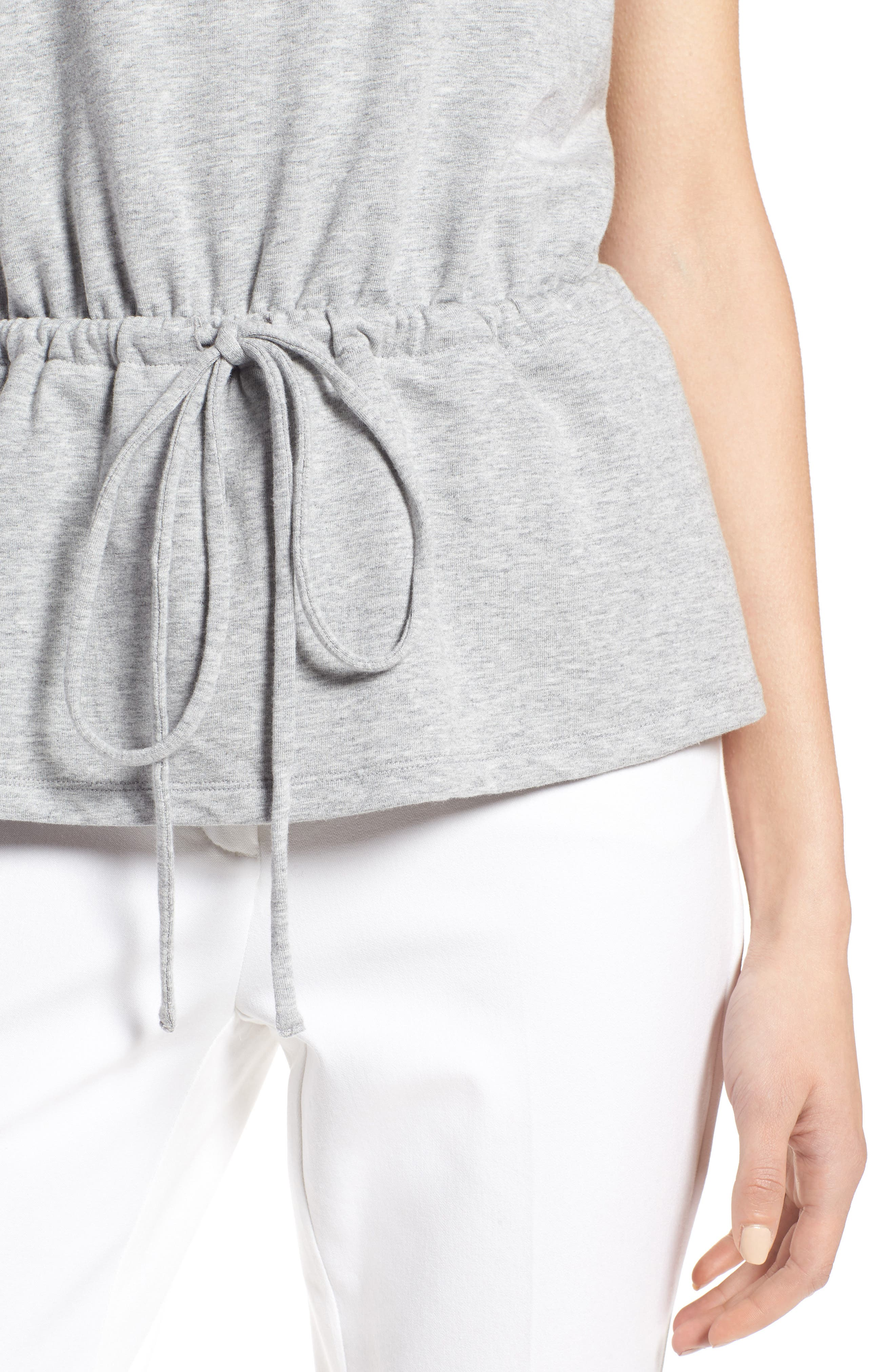 Drawcord Peplum Cotton Blend Top,                             Alternate thumbnail 4, color,                             030