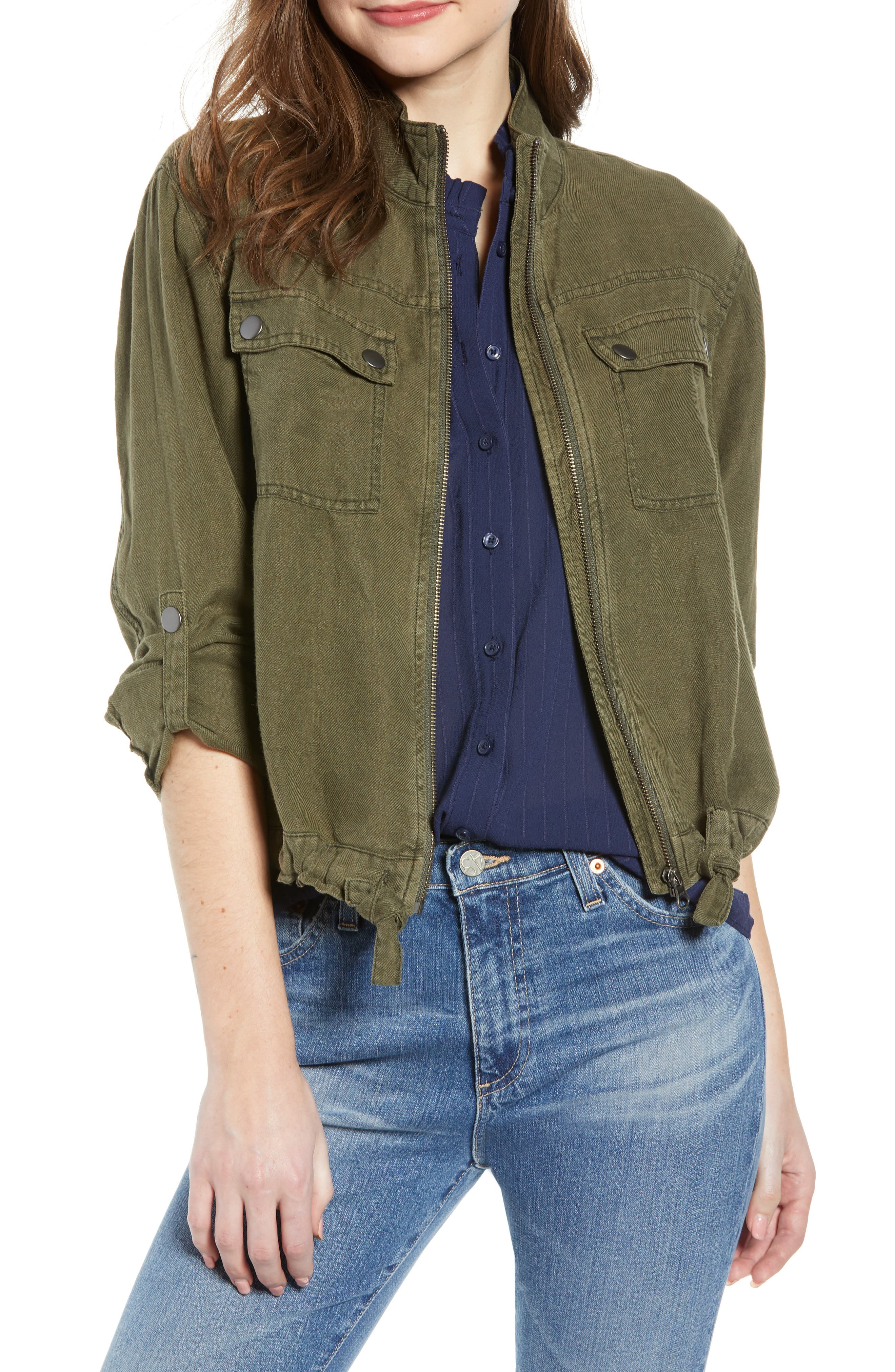Linen Blend Field Jacket,                             Main thumbnail 1, color,                             OLIVE SARMA