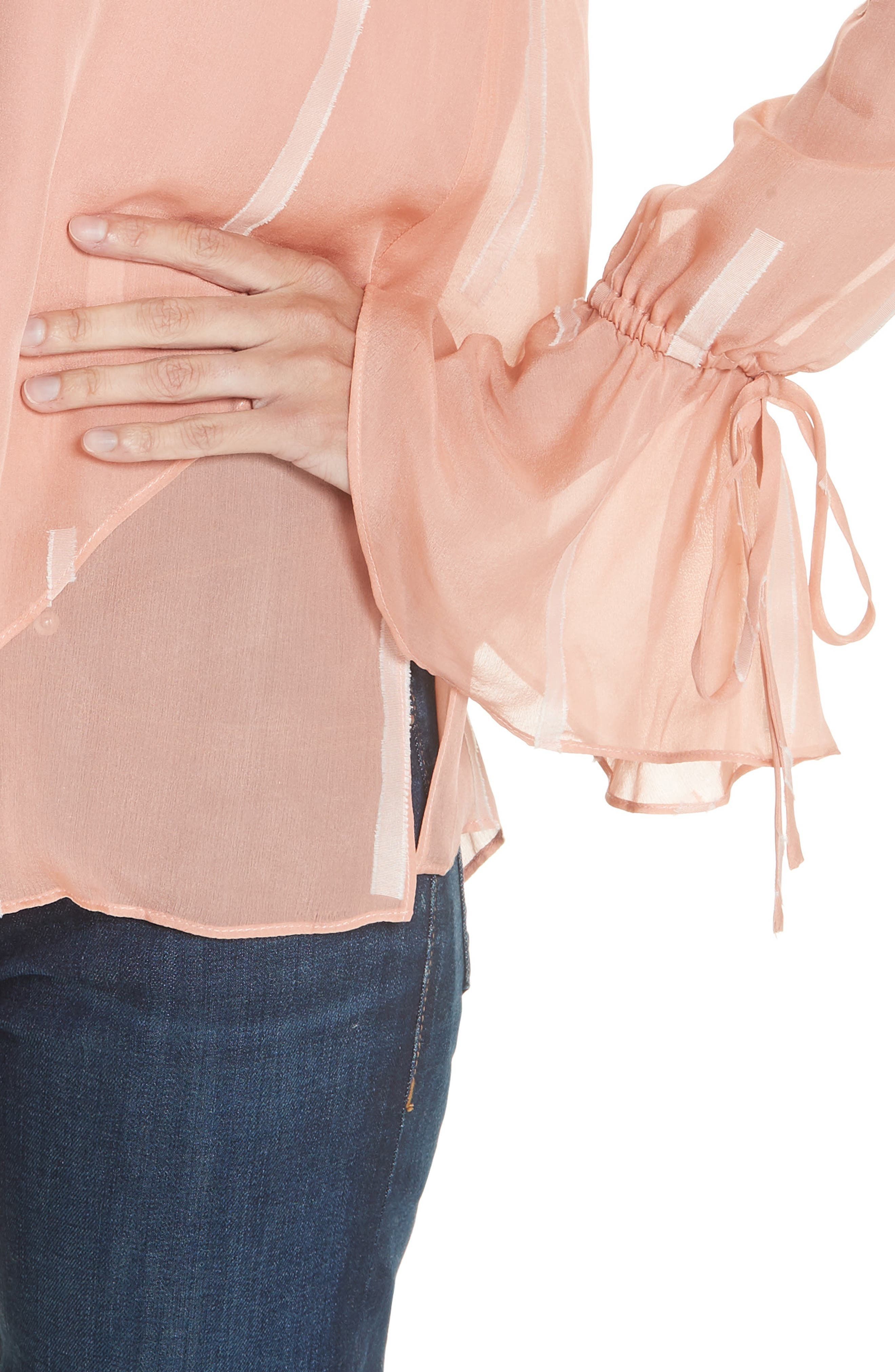 Clipped Stripe Handkerchief Silk Blend Blouse,                             Alternate thumbnail 4, color,                             DUSTY ROSE