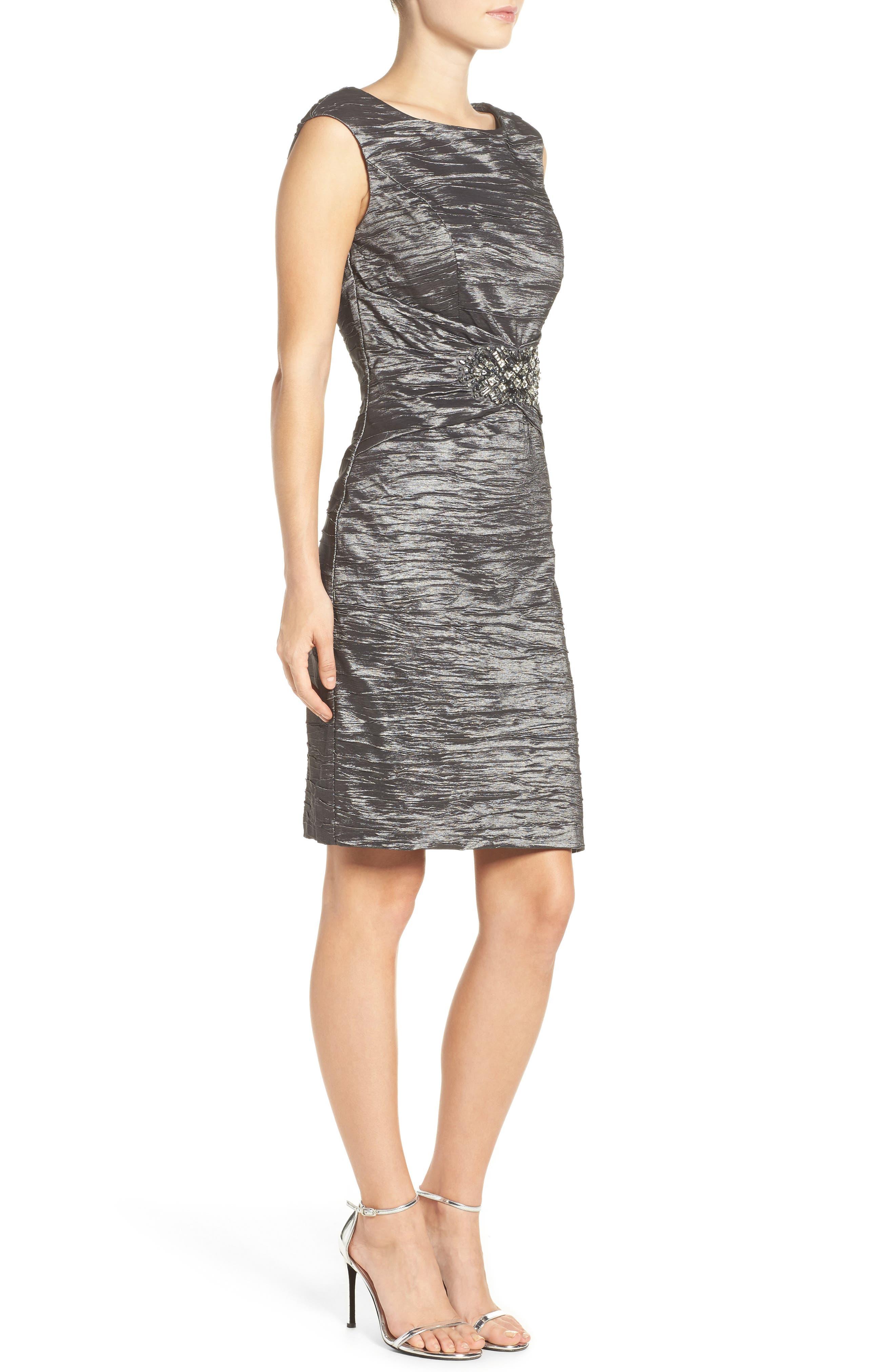 Embellished Taffeta Sheath Dress,                             Alternate thumbnail 3, color,                             043