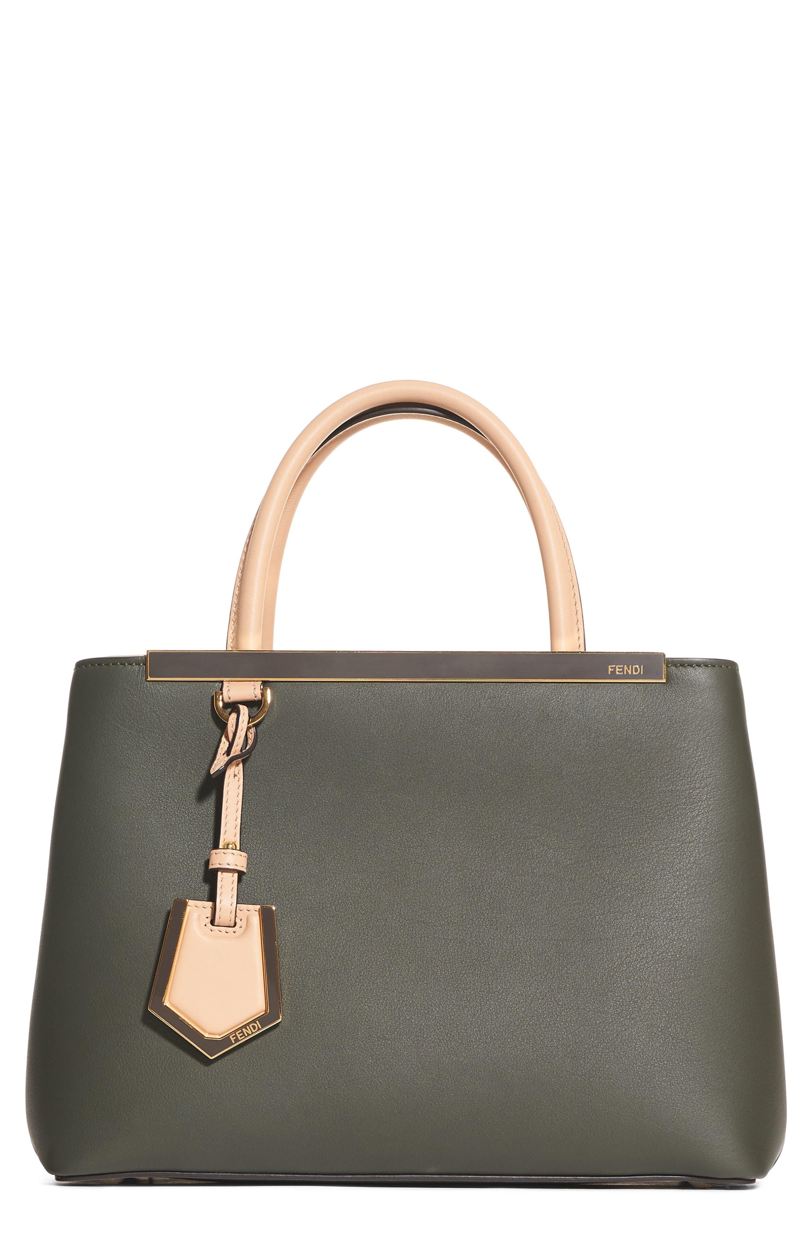 Petite 2Jours Leather Shopper,                         Main,                         color, GREEN GRASS/MAKEUP