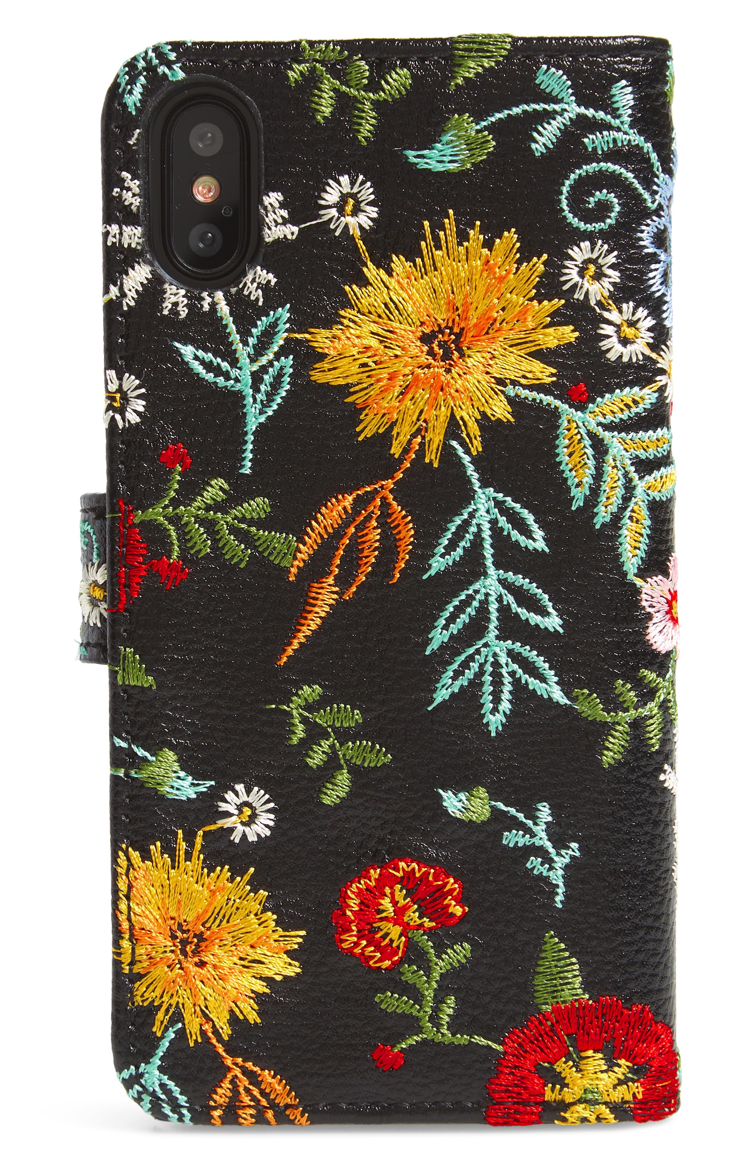 Jardin iPhone X Wallet,                             Alternate thumbnail 3, color,                             BLACK MULTI