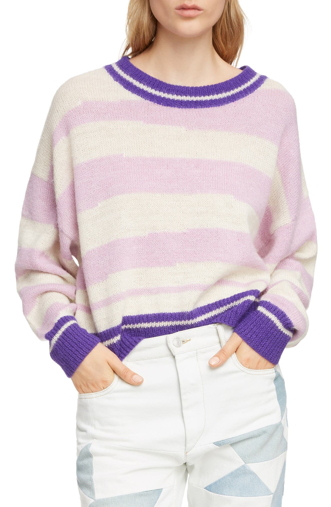 Glowy Stripe Sweater,                             Main thumbnail 1, color,                             LILAC
