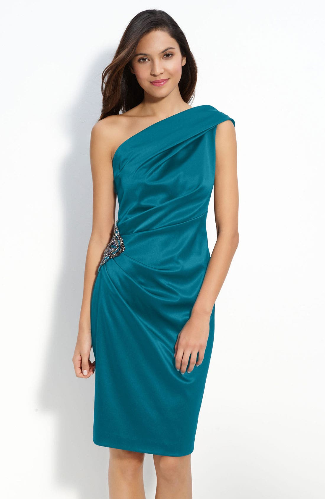 Beaded One-Shoulder Satin Dress,                             Main thumbnail 4, color,