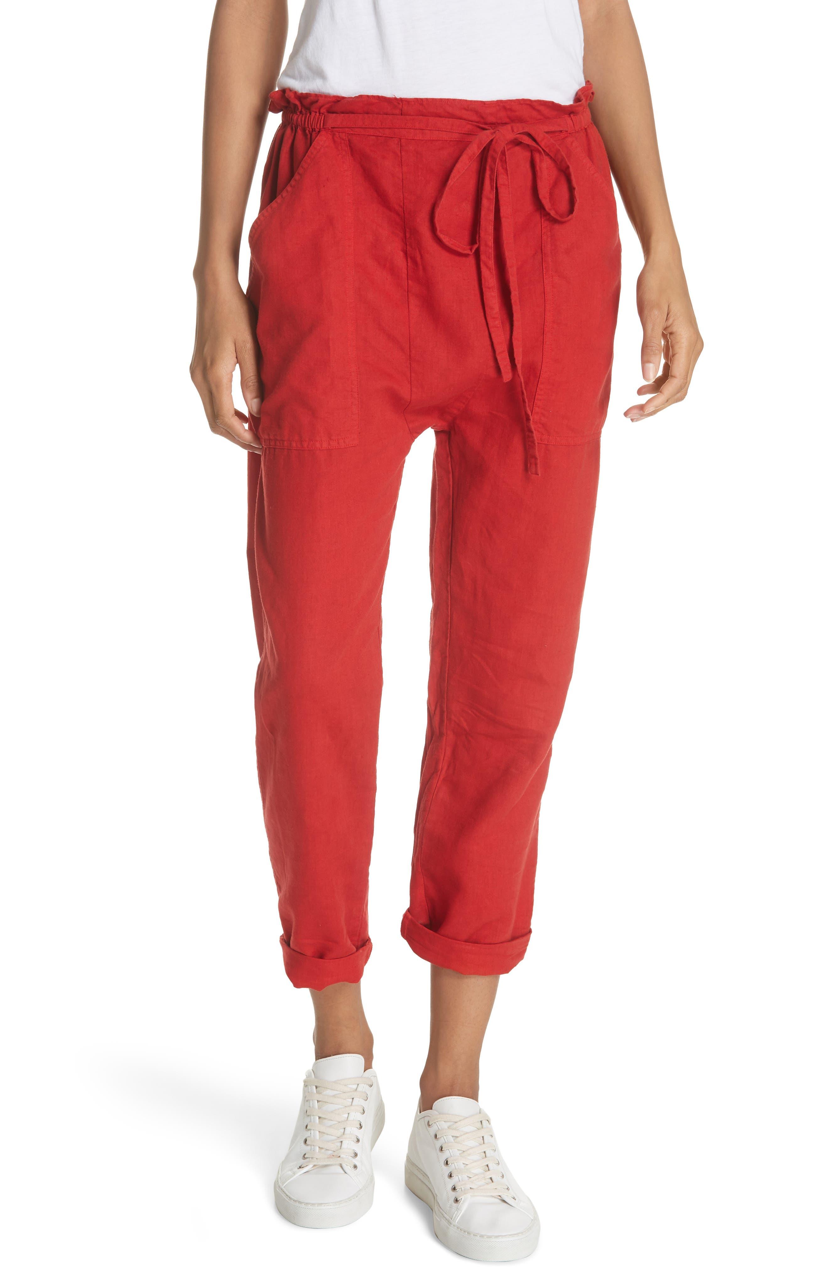 The Paper Bag Harem Pants,                         Main,                         color, POPPY