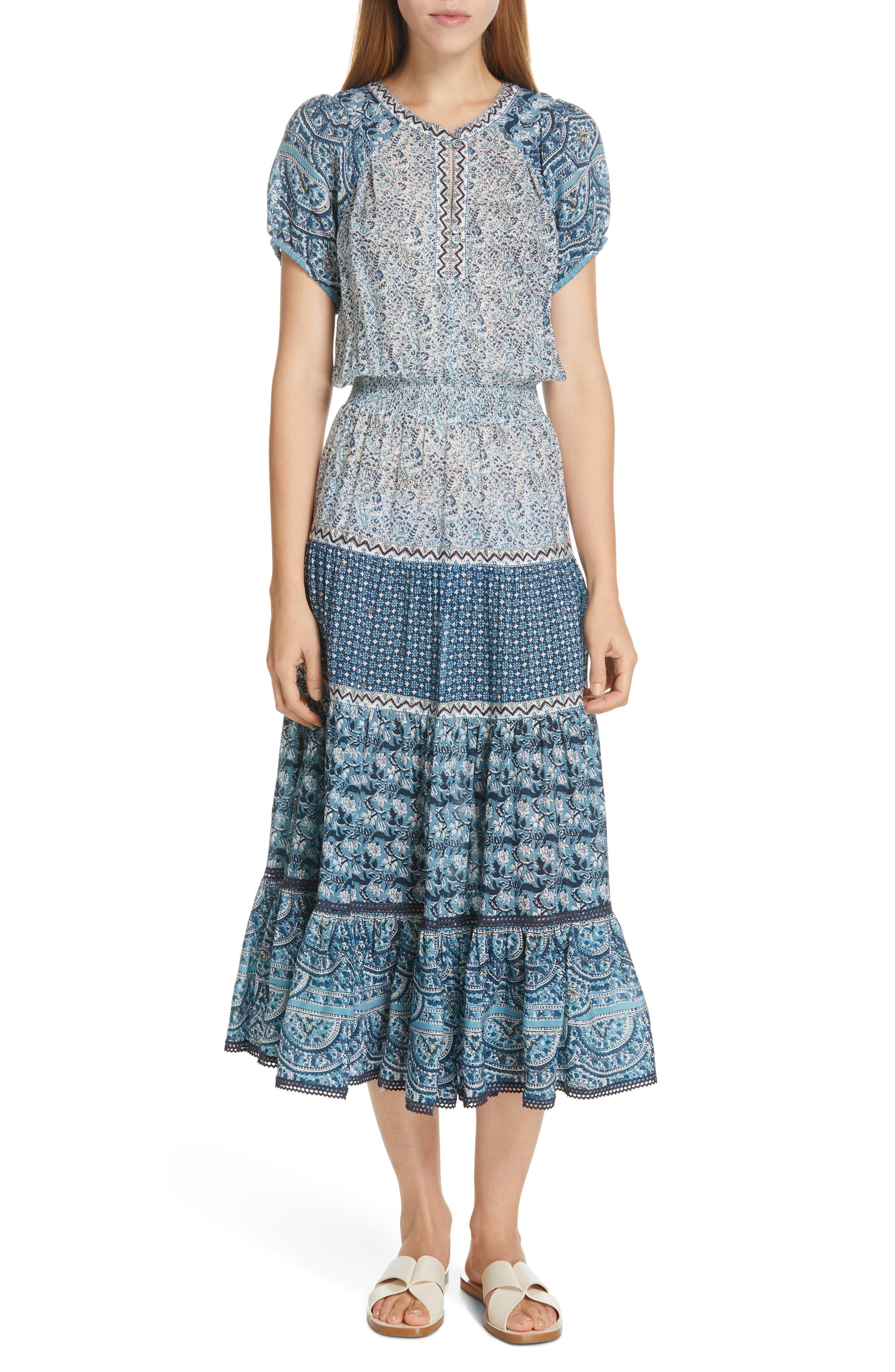 Sea Bella Ruffle Hem Midi Dress, Blue