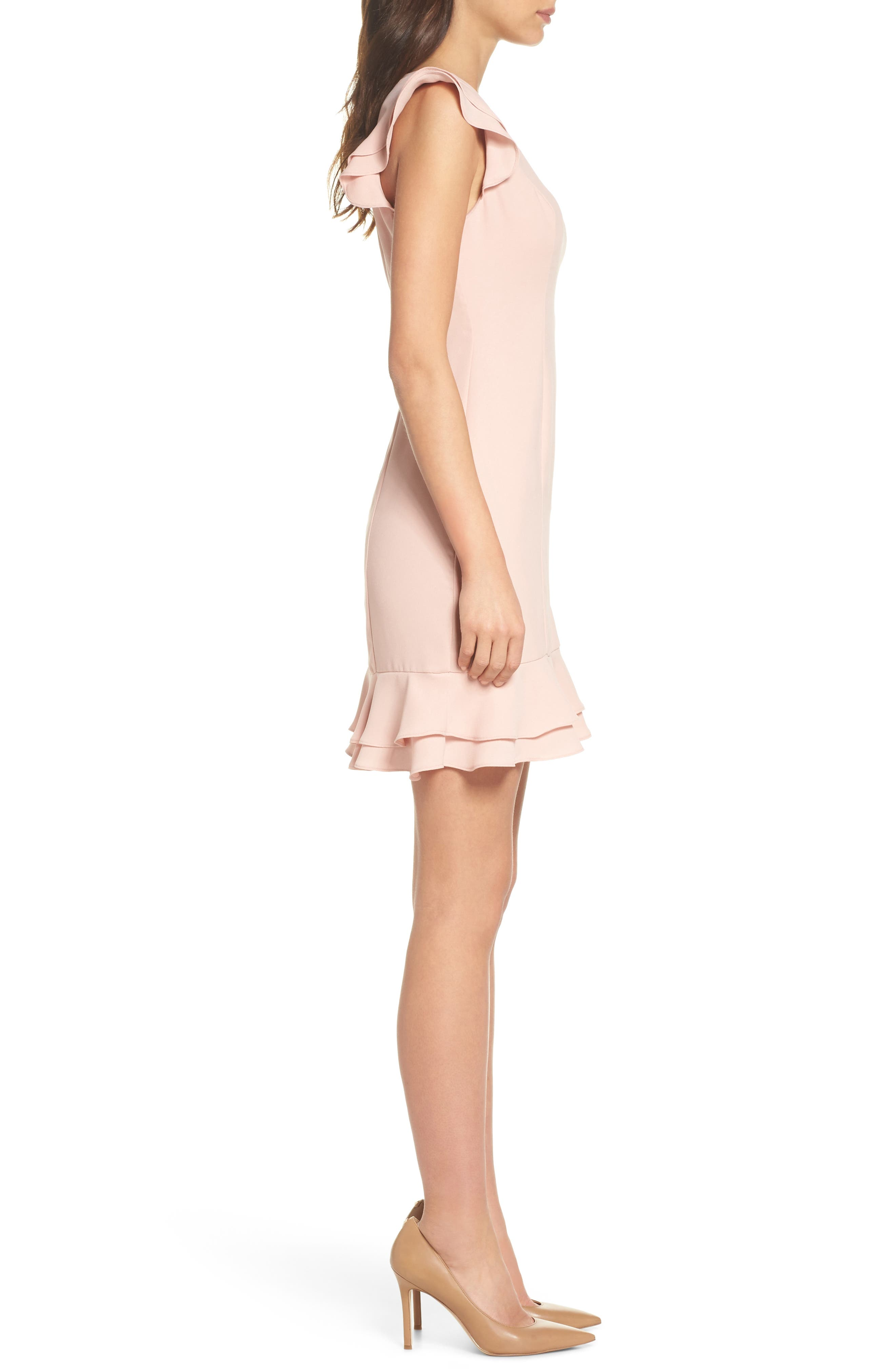 Ruffle Hem Sheath Dress,                             Alternate thumbnail 3, color,                             689