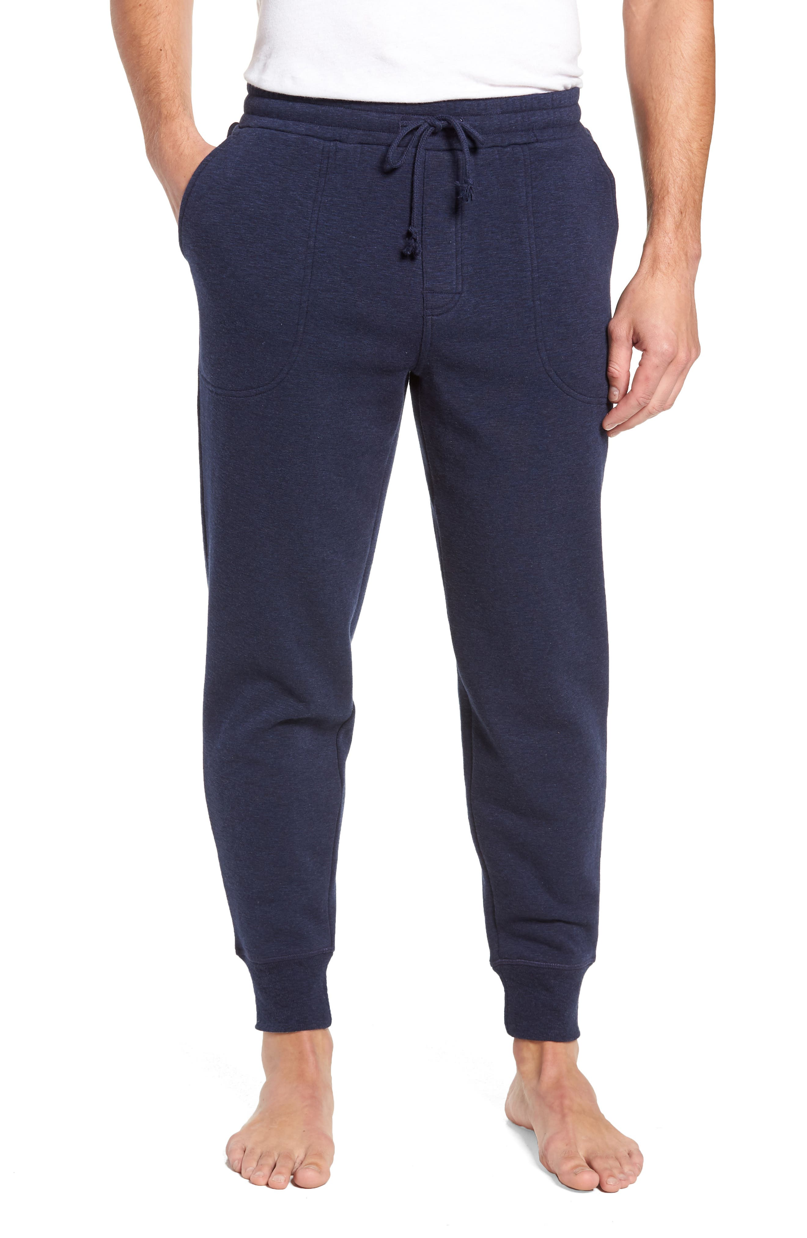 French Terry Pajama Pants,                         Main,                         color, DARK NAVY HEATHER