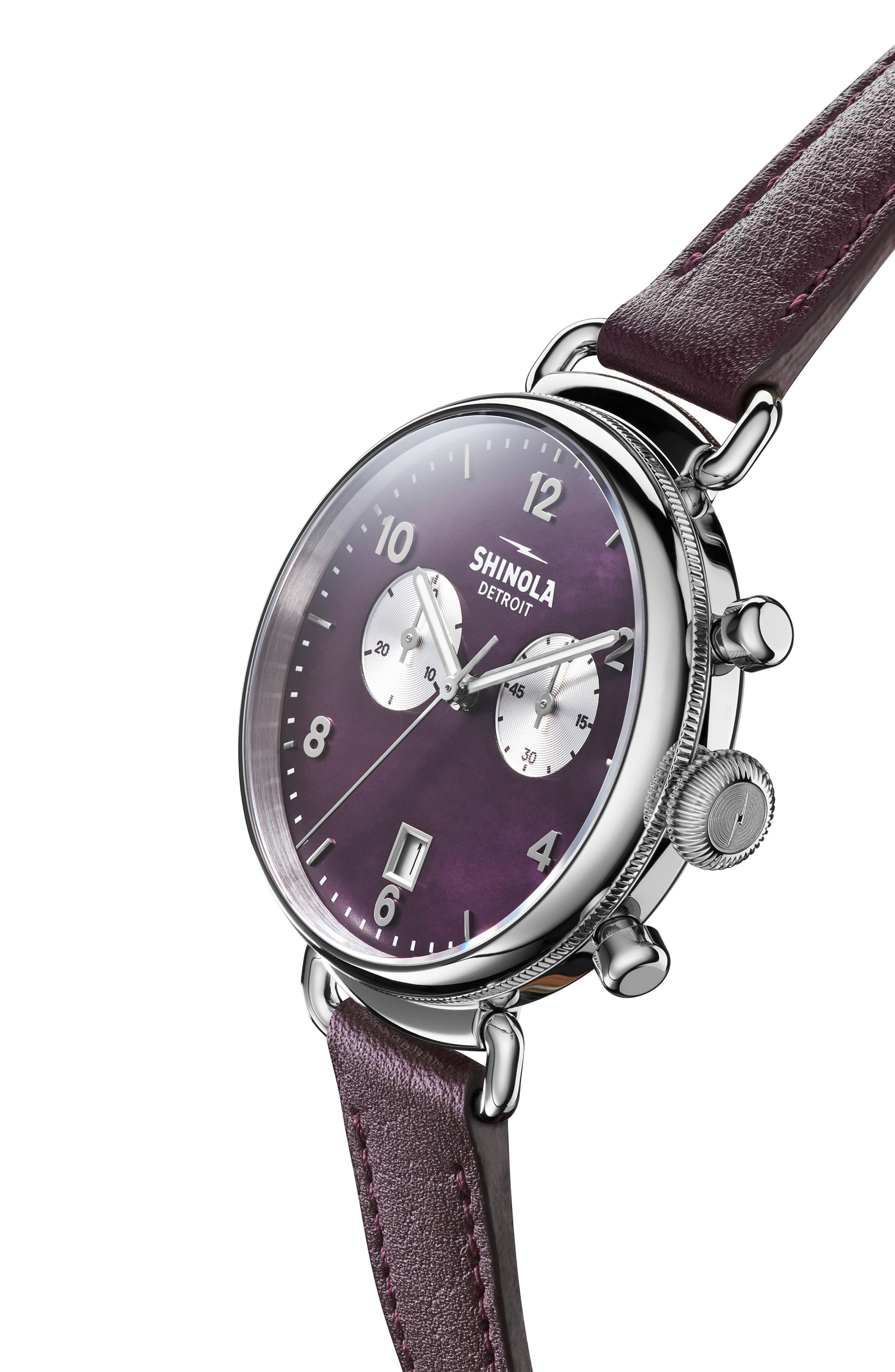 'The Canfield Chrono' Leather Strap Watch, 38mm,                             Alternate thumbnail 4, color,                             PURPLE/ PLUM MOP/ SILVER
