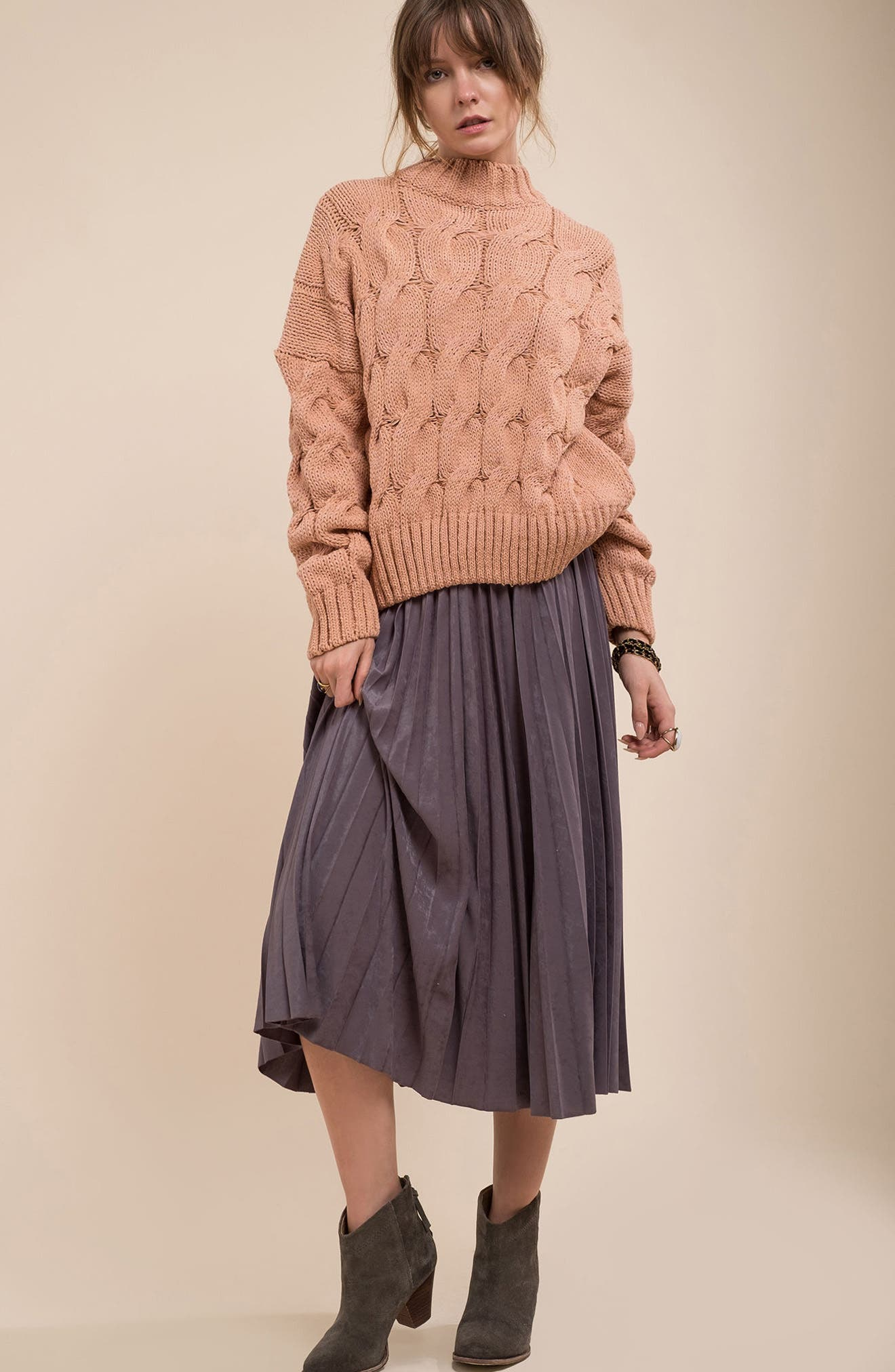 Cable Knit Sweater,                             Alternate thumbnail 7, color,                             650