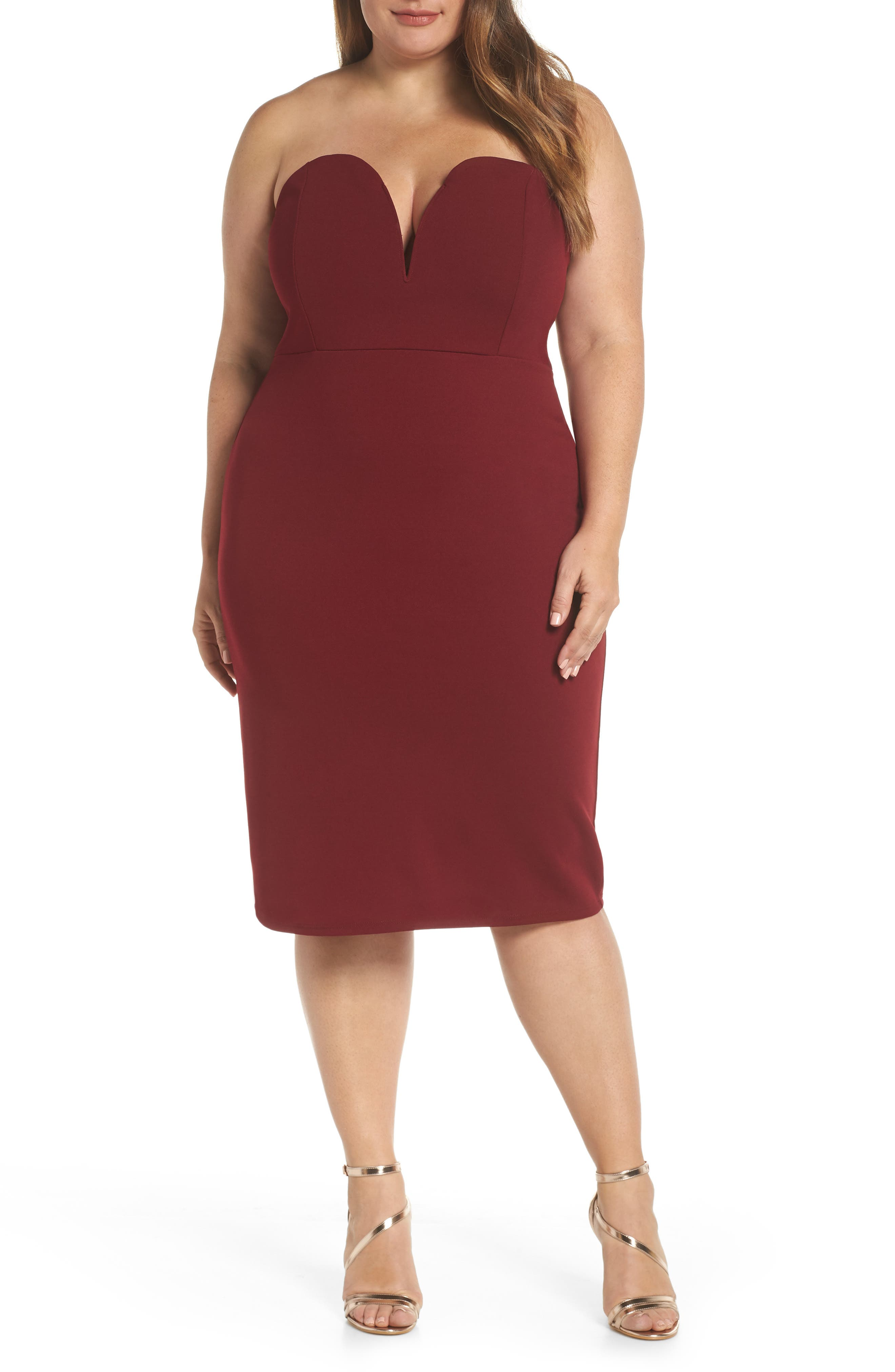 LEITH Strapless Sheath Dress, Main, color, RED GRAPE