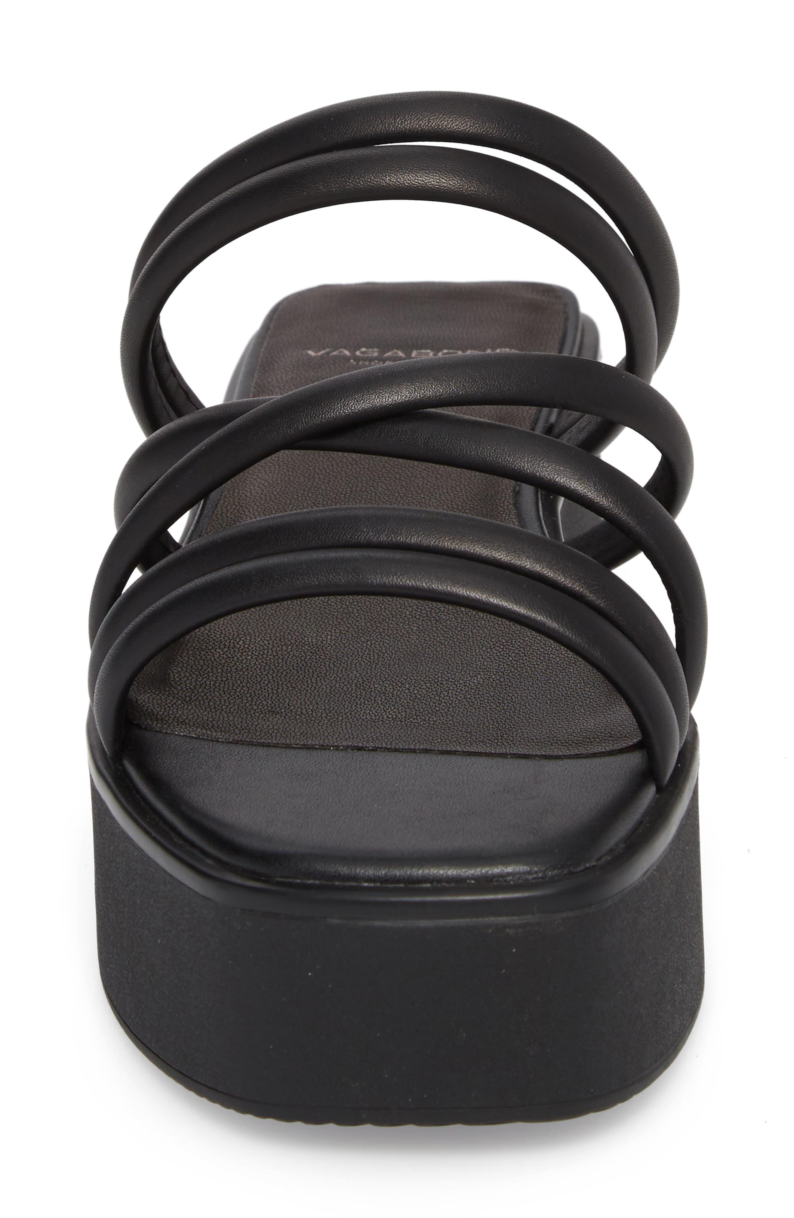 Bonnie Platform Sandal,                             Alternate thumbnail 4, color,                             BLACK LEATHER