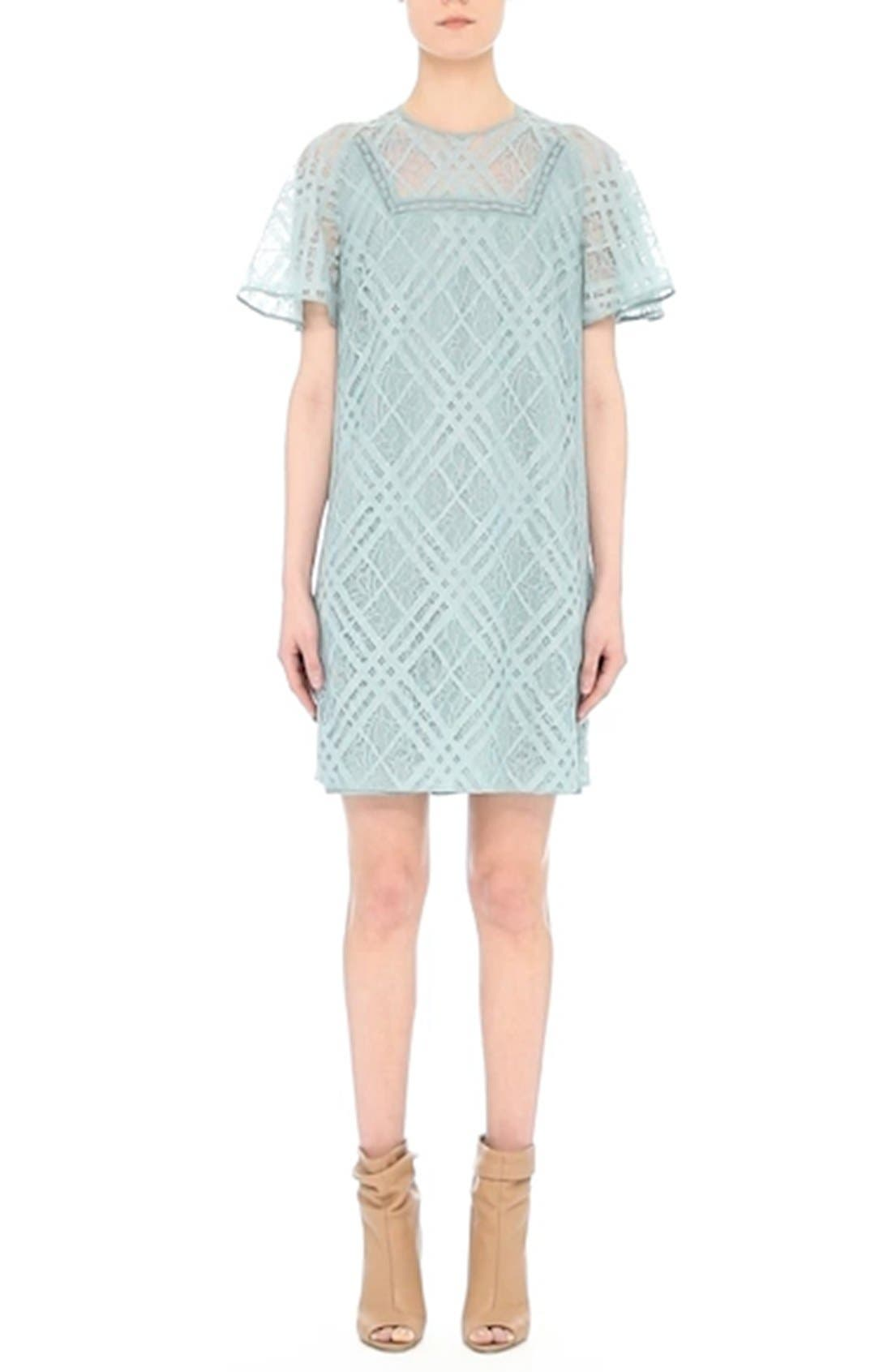 Keri Floral Check Lace Dress,                             Alternate thumbnail 7, color,                             450