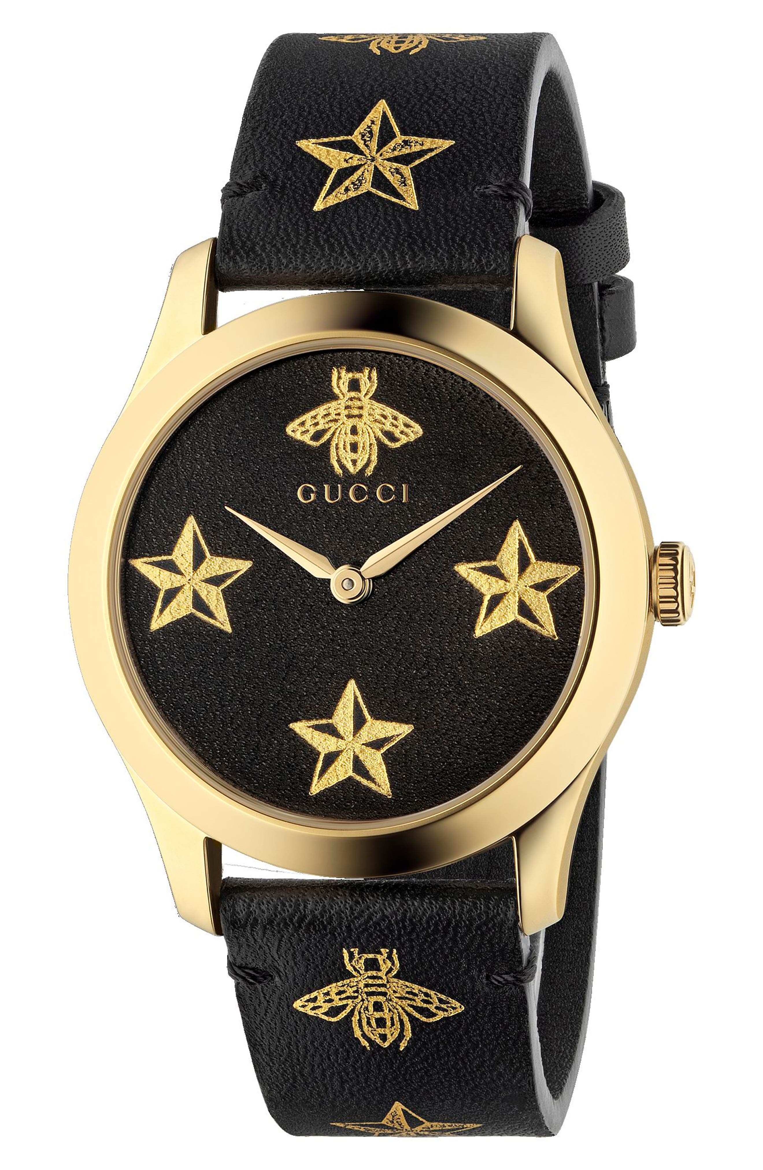G-Timeless Leather Strap Watch, 36mm,                         Main,                         color, BLACK/ GOLD