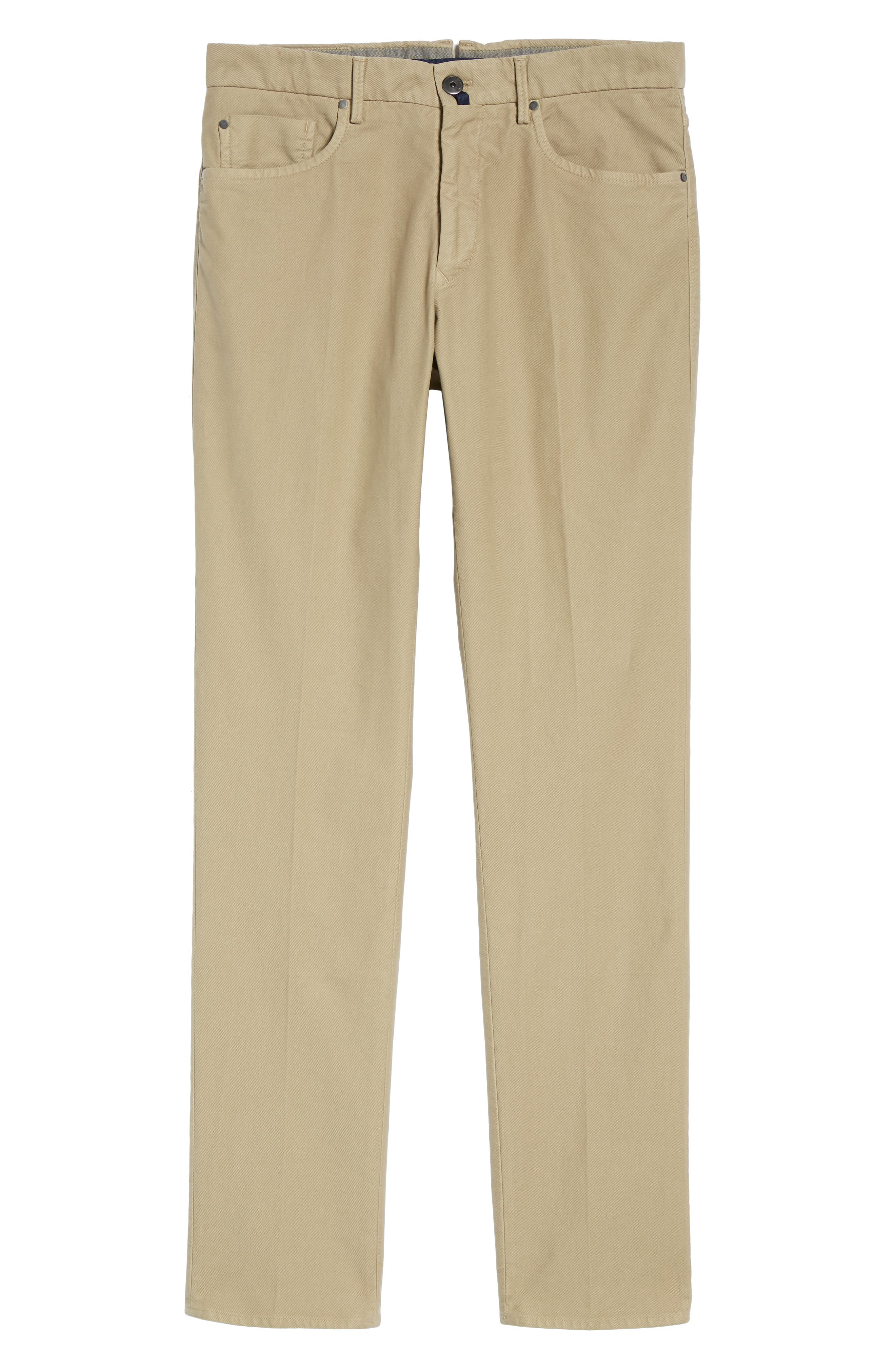 Five-Pocket Solid Stretch Cotton Trousers,                             Alternate thumbnail 6, color,                             STONE