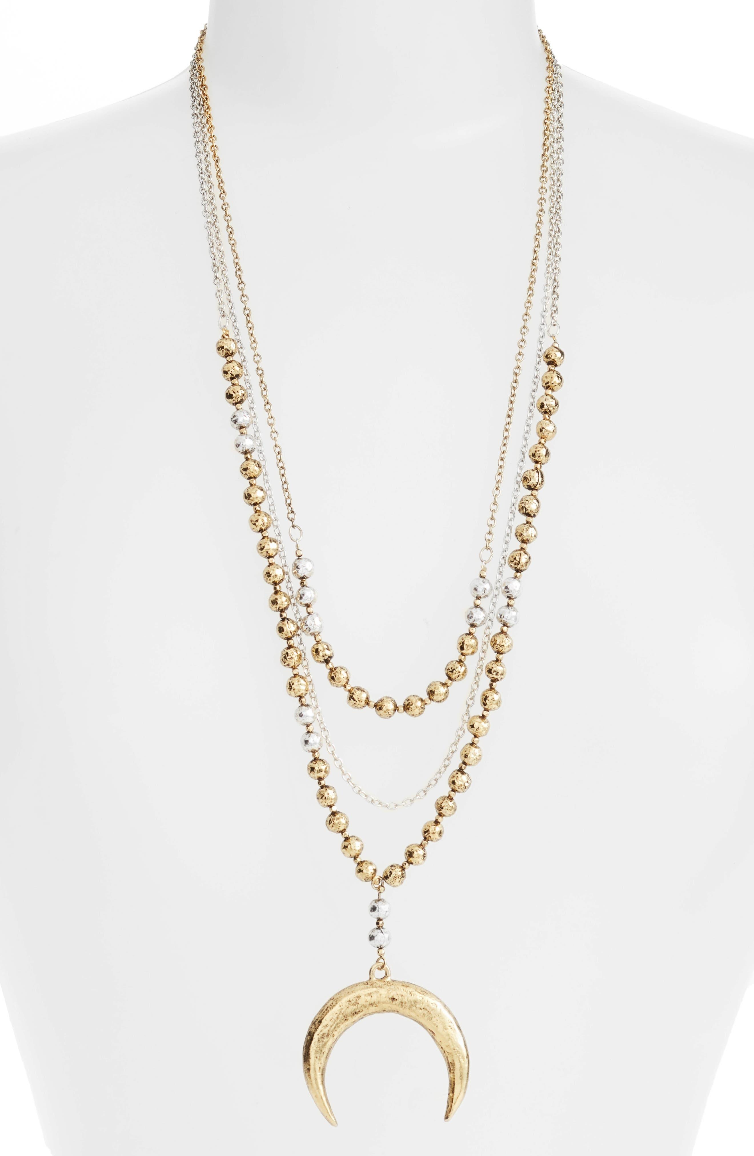 Multistrand Pandant Necklace,                         Main,                         color, GOLD/SILVER MIX