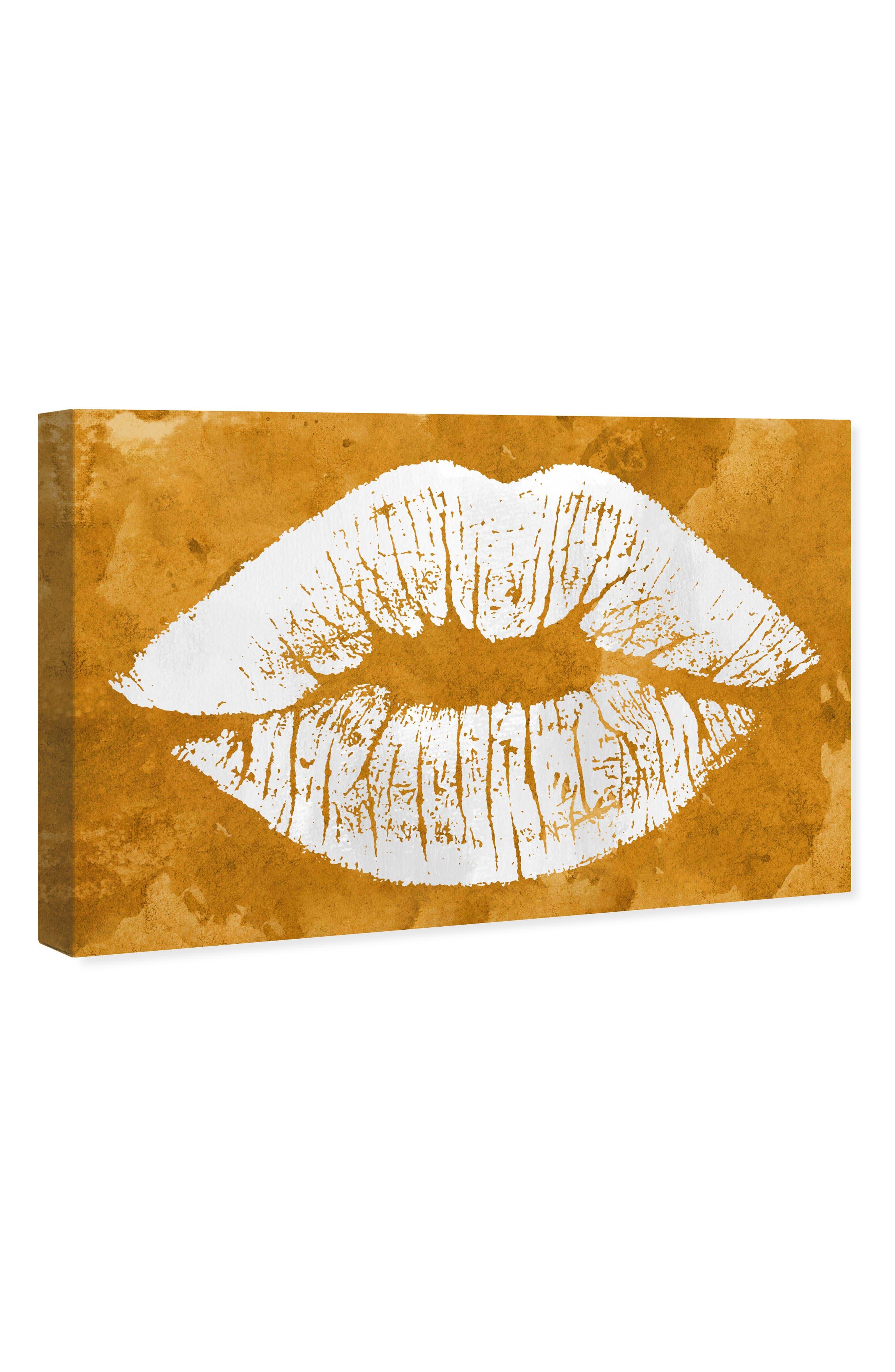 Solid Kiss Ochre Canvas Wall Art,                             Alternate thumbnail 4, color,                             OCHRE