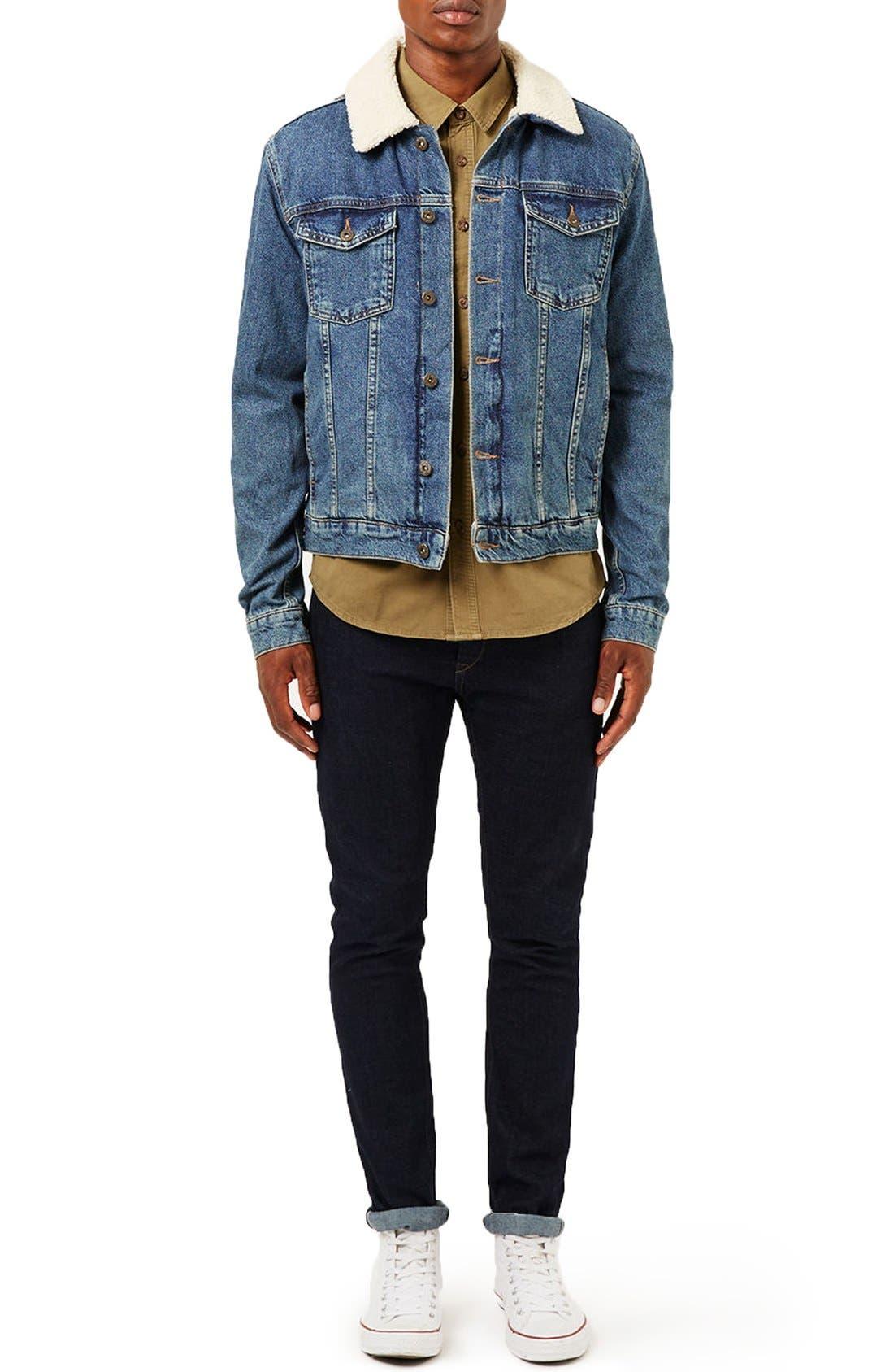 Borg Denim Jacket,                             Alternate thumbnail 3, color,                             400