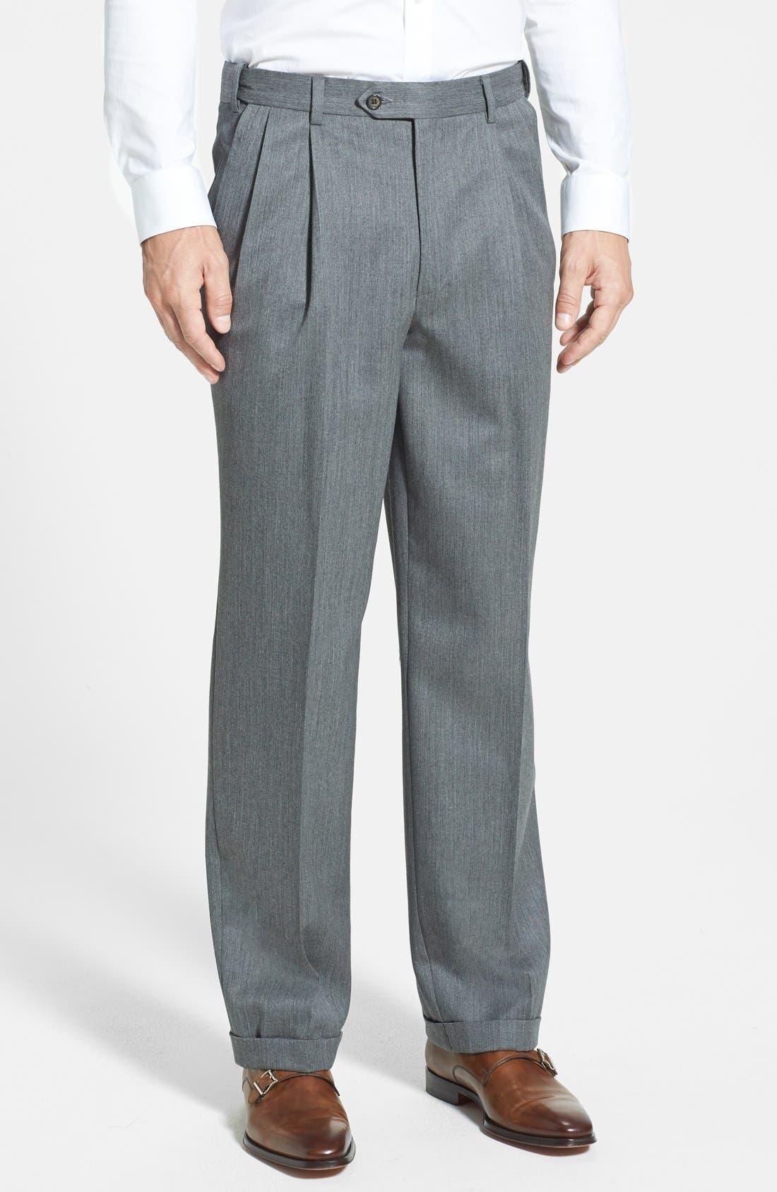 Self Sizer Waist Pleated Wool Gabardine Trousers,                         Main,                         color, MEDIUM GREY