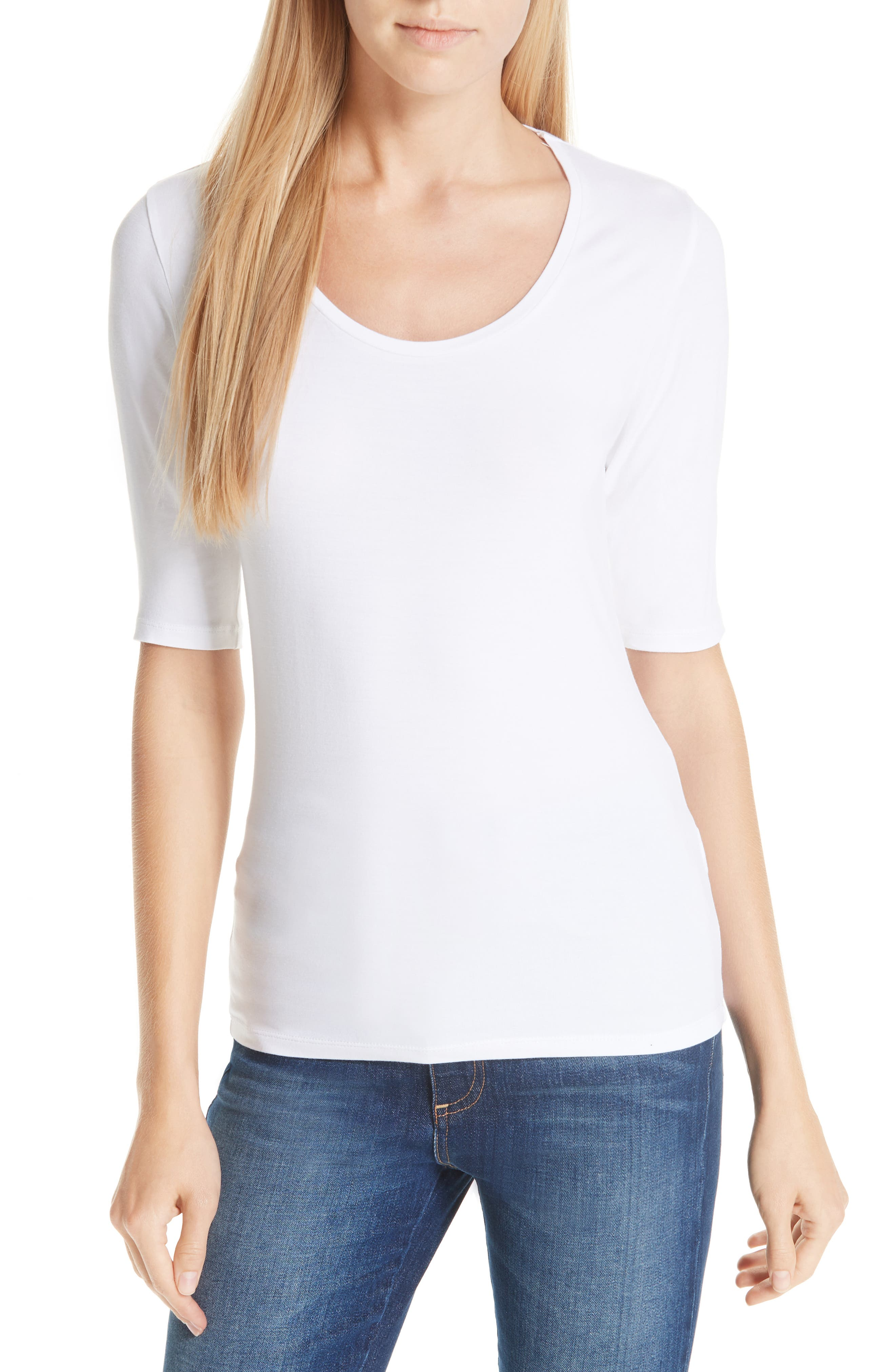 MAJESTIC Soft Touch Elbow Sleeve Tee in Blanca