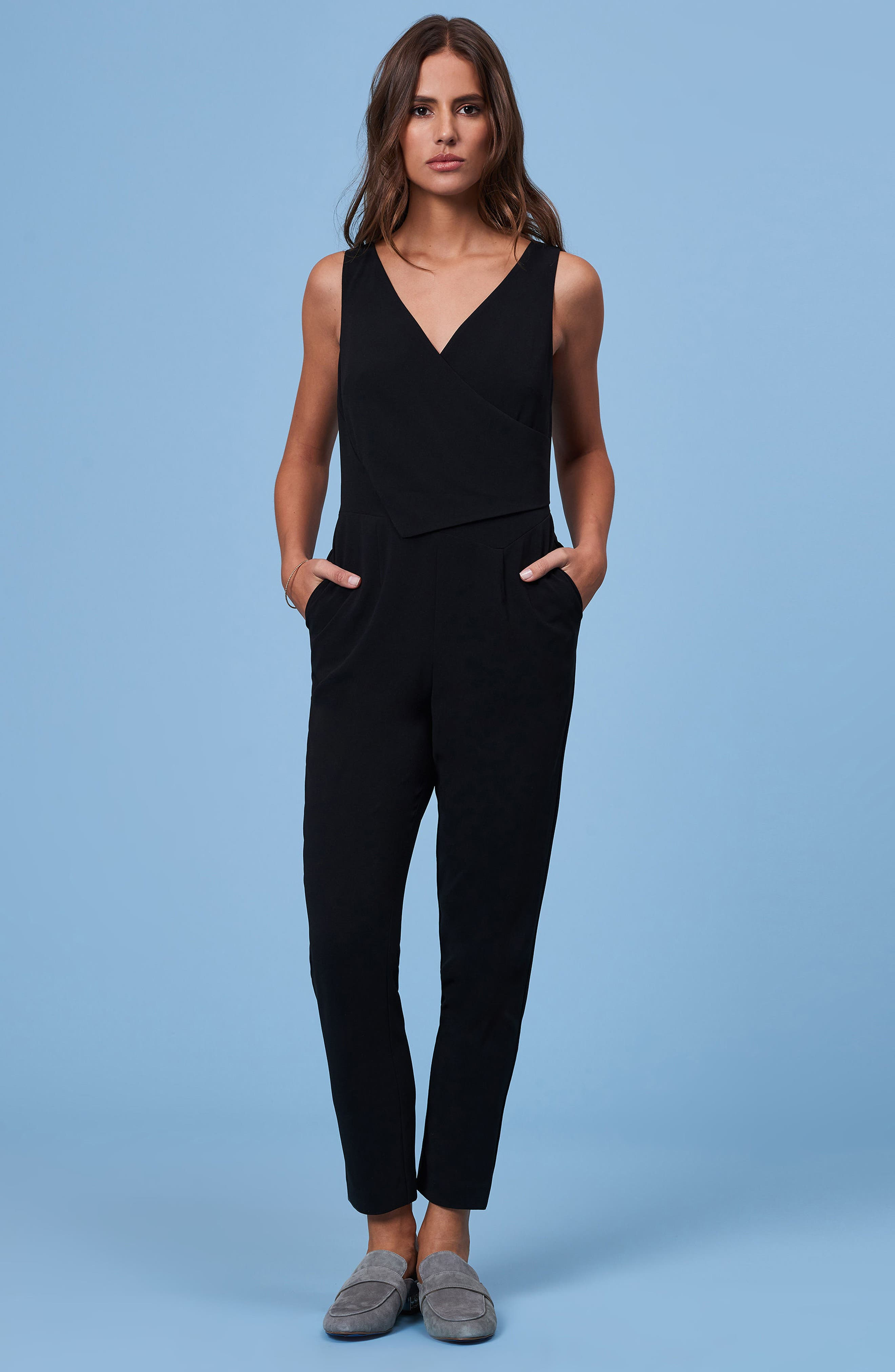Asymmetrical Pleat Jumpsuit,                             Alternate thumbnail 7, color,                             001