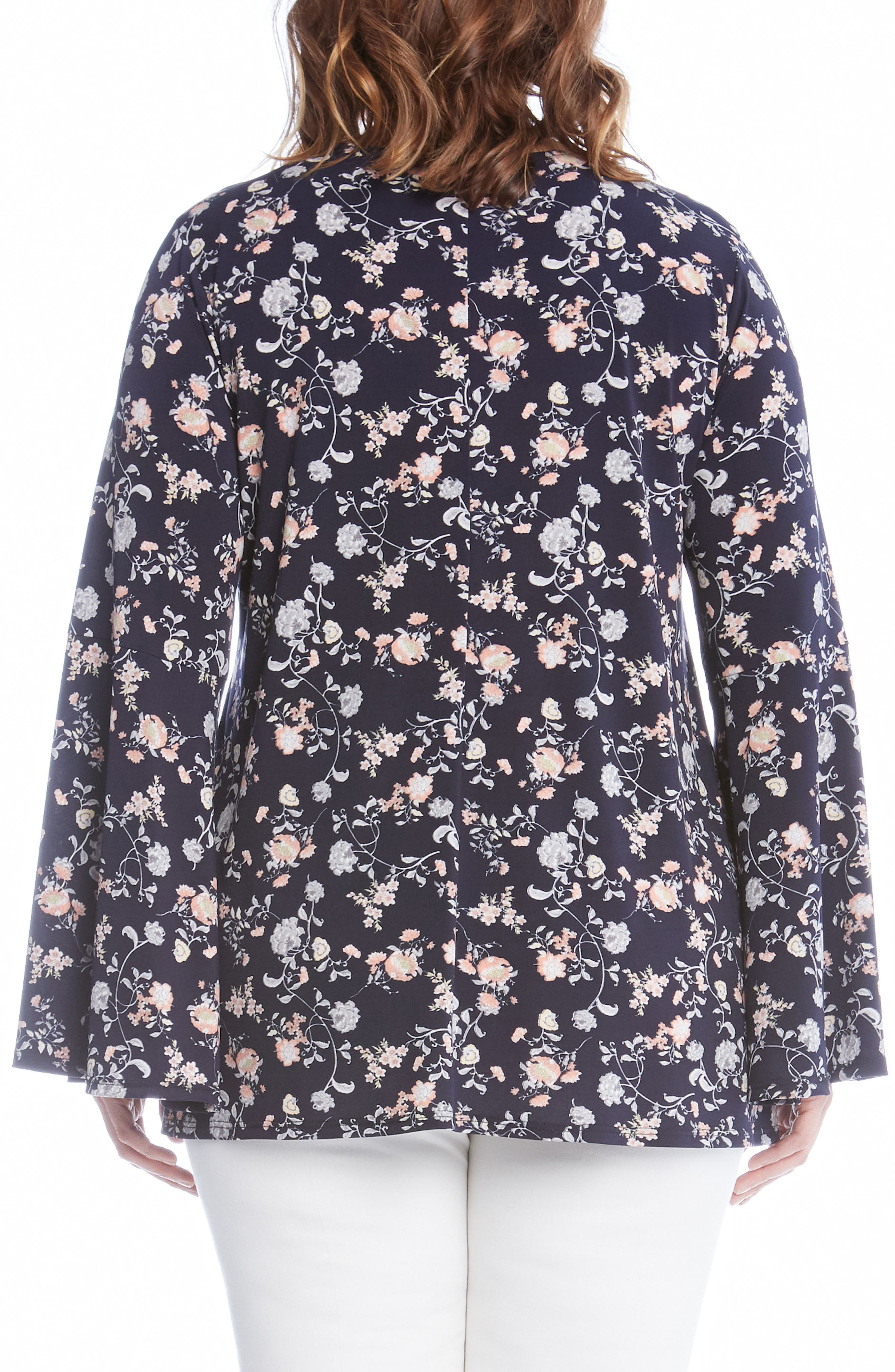 Kane Kane Bell Sleeve Floral Top,                             Alternate thumbnail 2, color,                             460