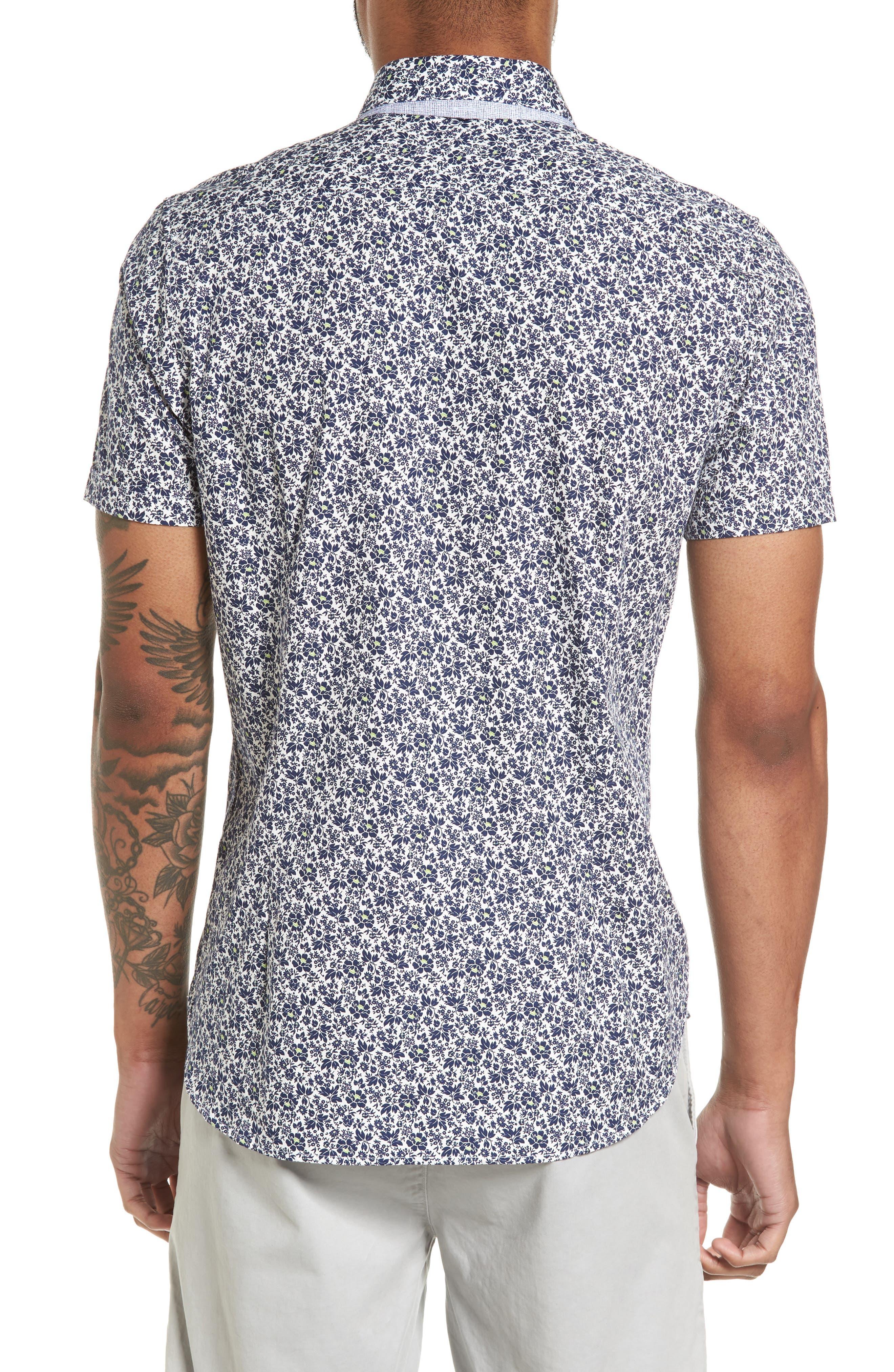 Alygar Slim Fit Floral Woven Shirt,                             Alternate thumbnail 2, color,                             402