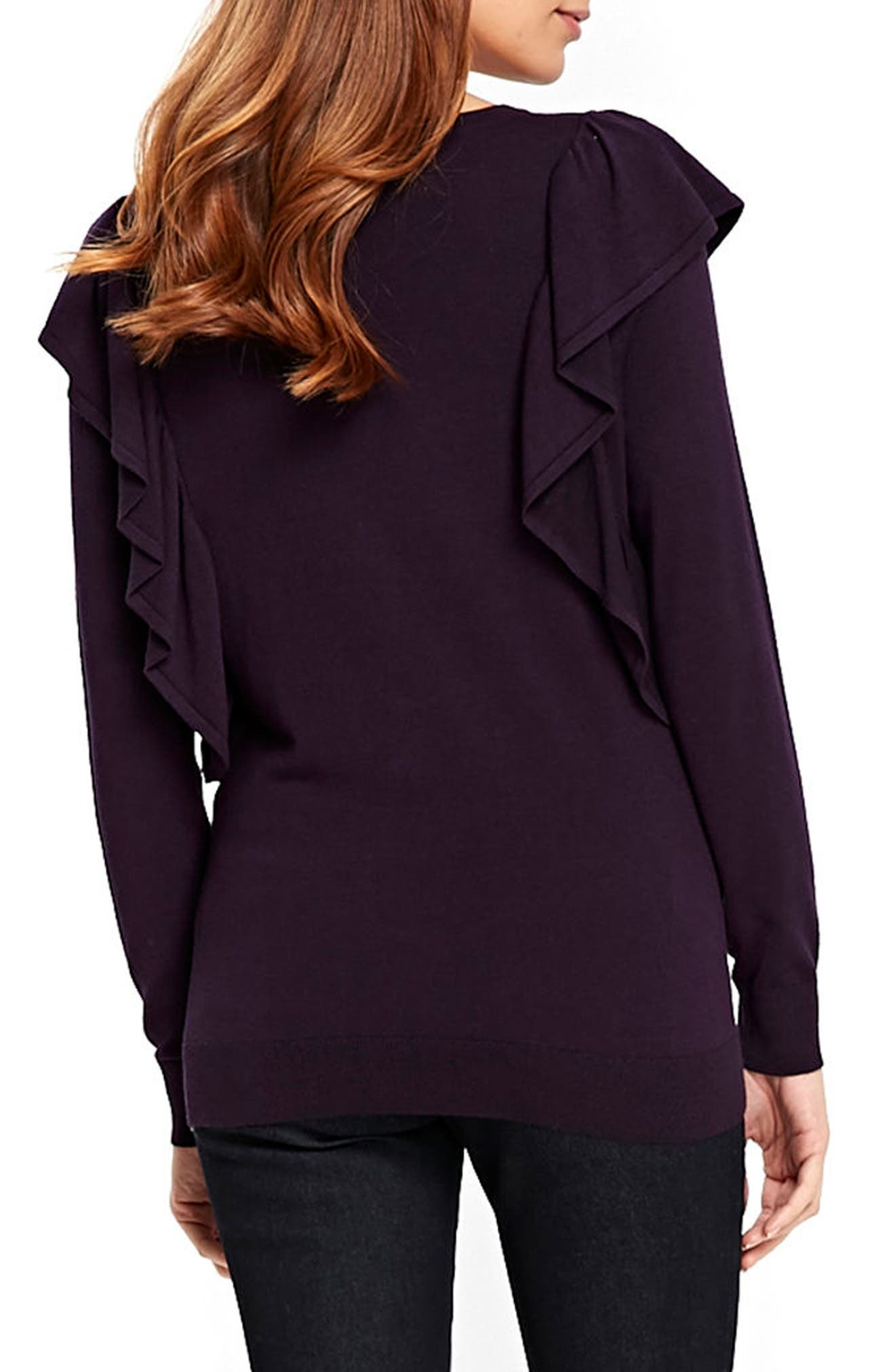 Long Sleeve Ruffle Shoulder Pullover,                             Alternate thumbnail 4, color,