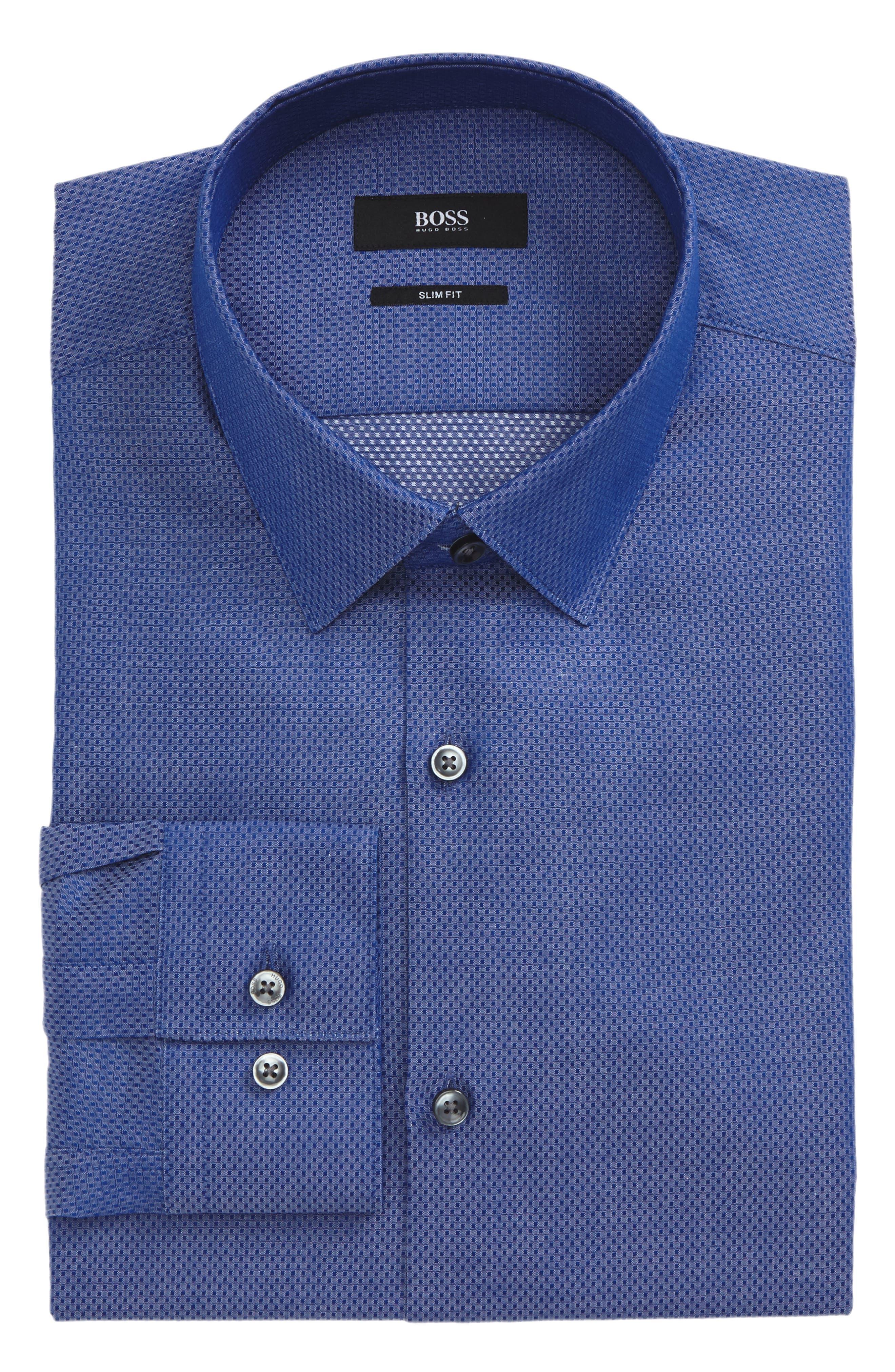 Isko Slim Fit Textured Dress Shirt,                             Main thumbnail 1, color,                             421