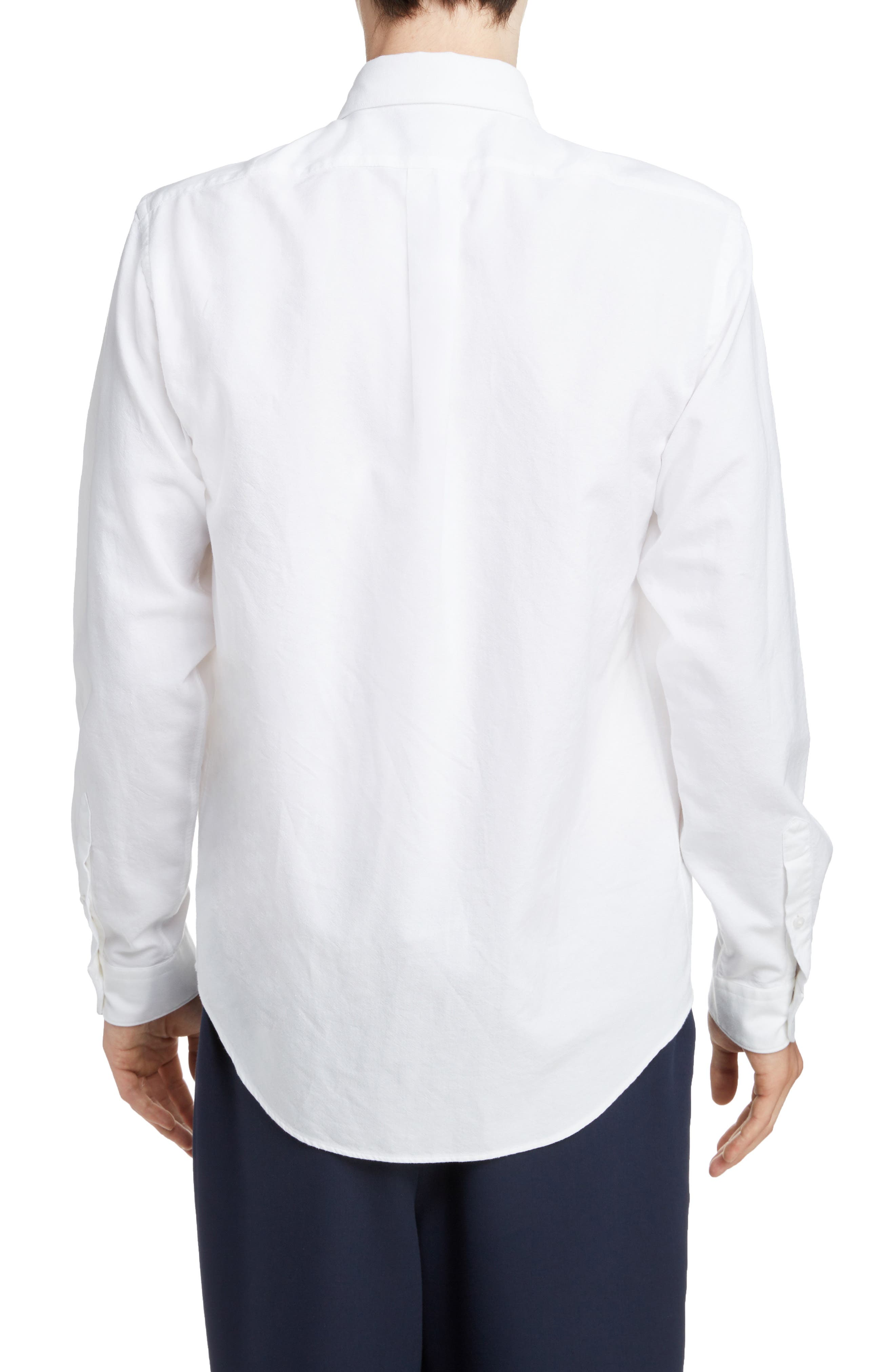KENZO,                             Jumping Tiger Crest Woven Shirt,                             Alternate thumbnail 3, color,                             WHITE