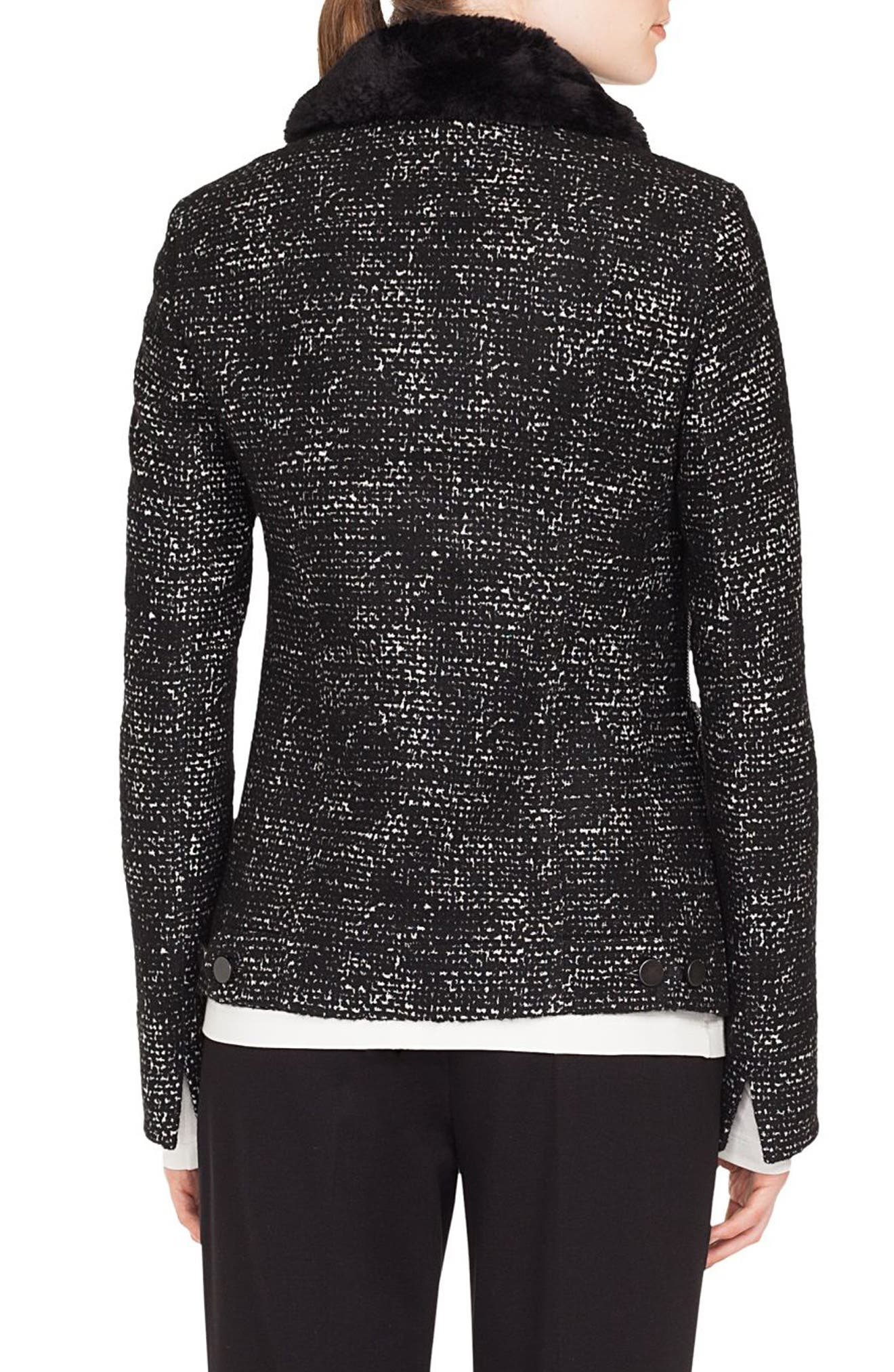 Tweed Jacket with Detachable Faux Fur Collar,                             Alternate thumbnail 2, color,                             BLACK/ CREAM