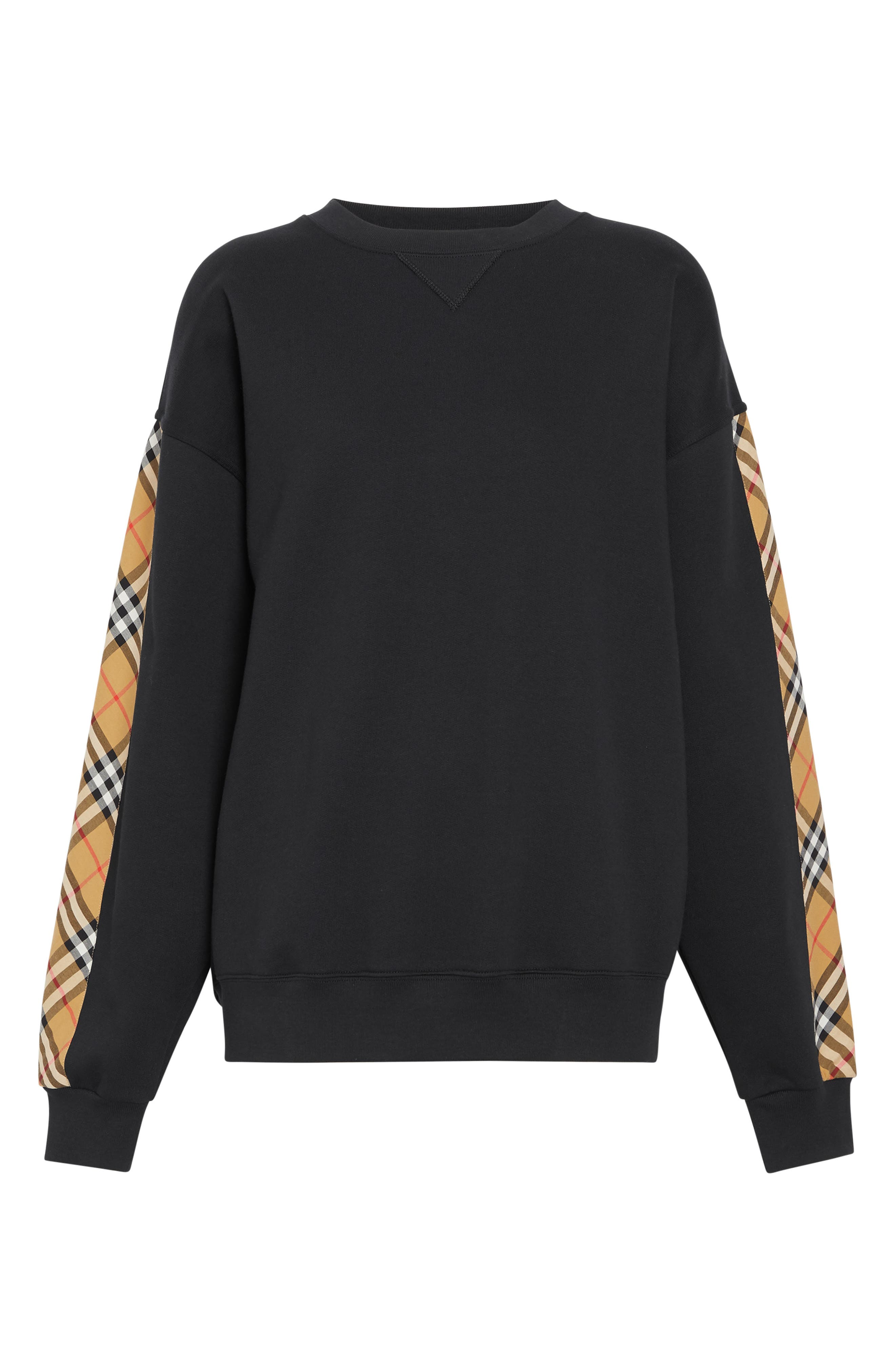 Bronx Check Sleeve Sweatshirt,                             Alternate thumbnail 4, color,                             BLACK