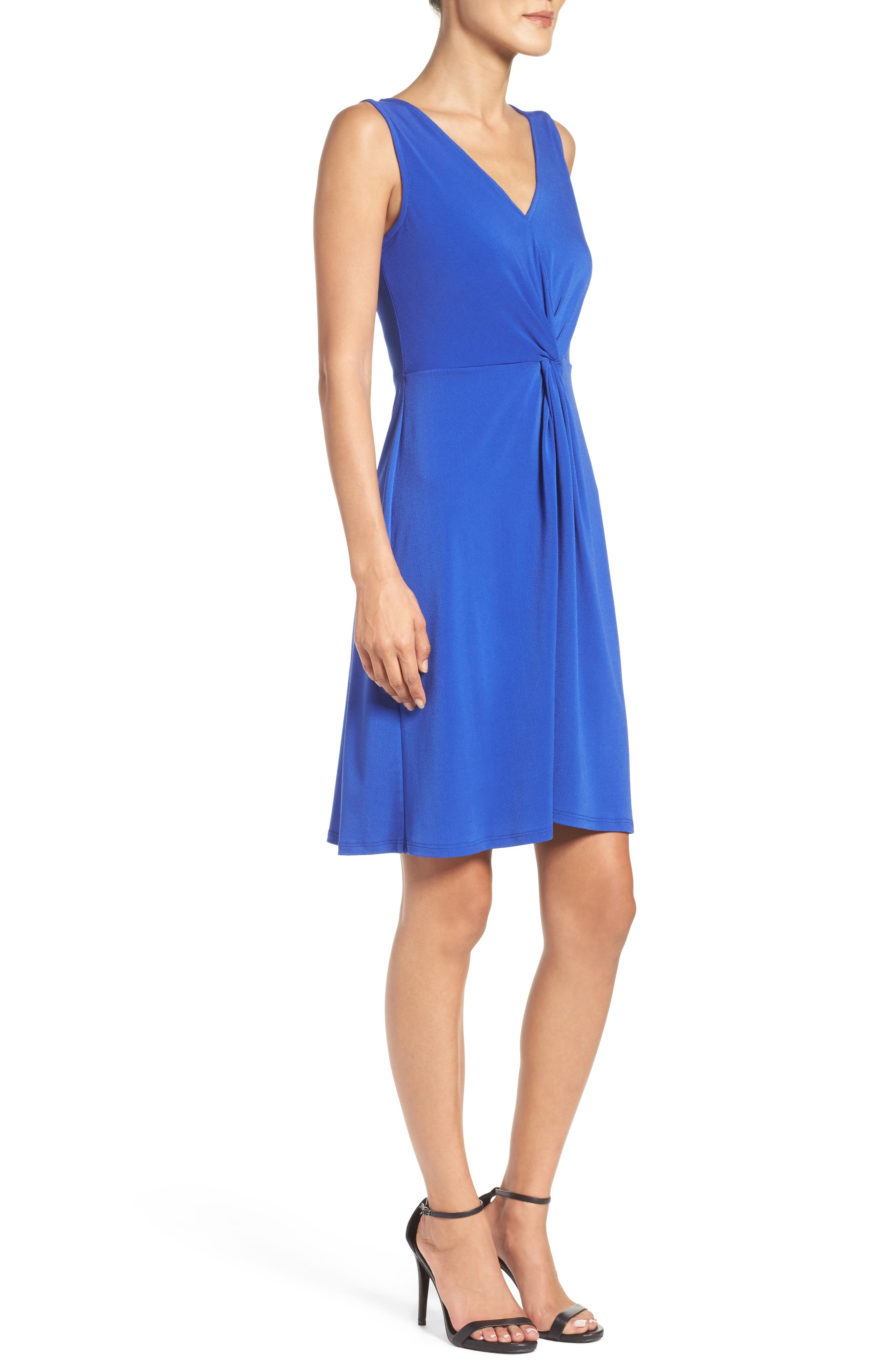 Twist Front Jersey Sheath Dress,                             Alternate thumbnail 3, color,                             430