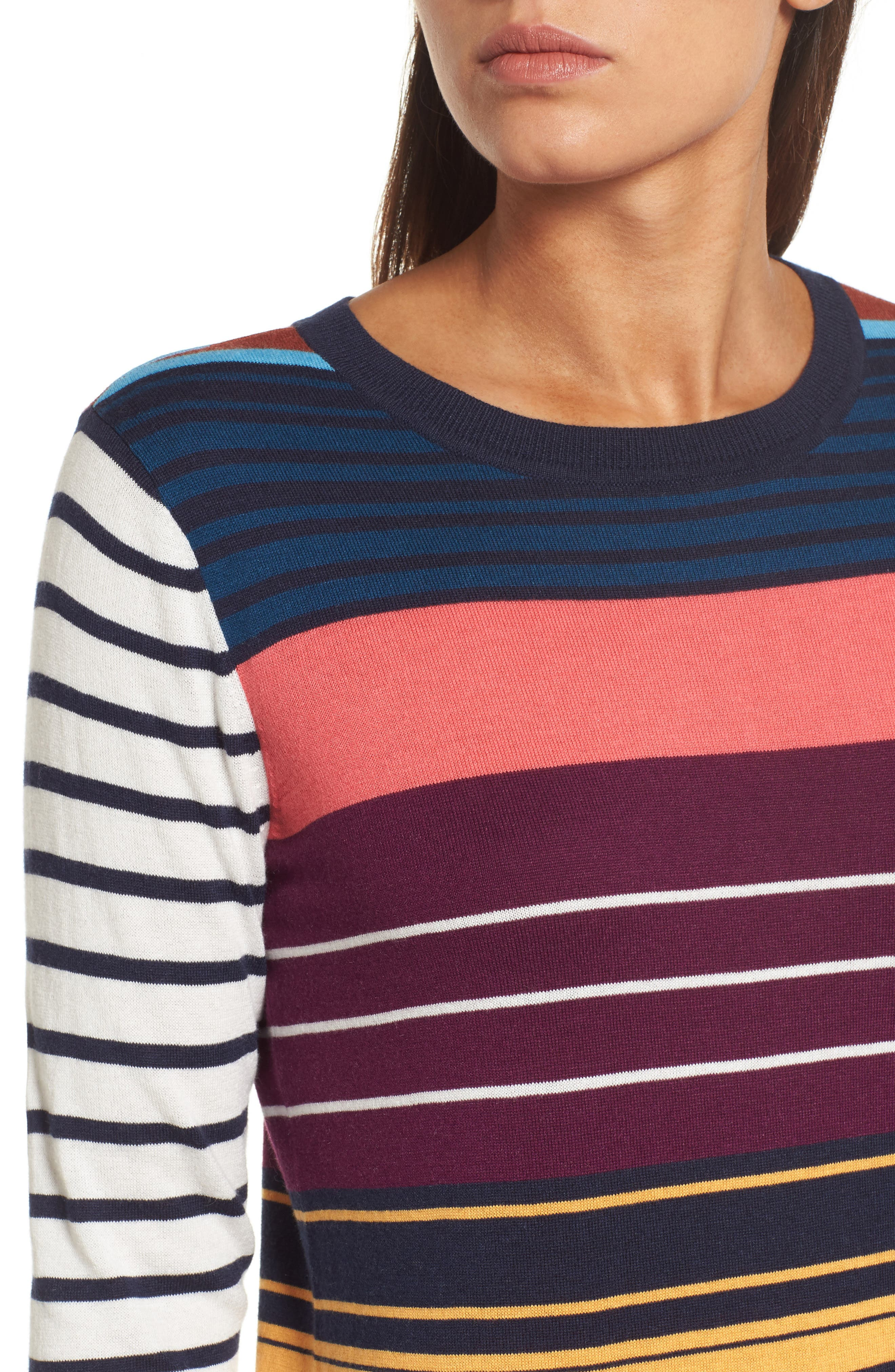 Colorblock Stripe Sweater,                             Alternate thumbnail 4, color,                             410